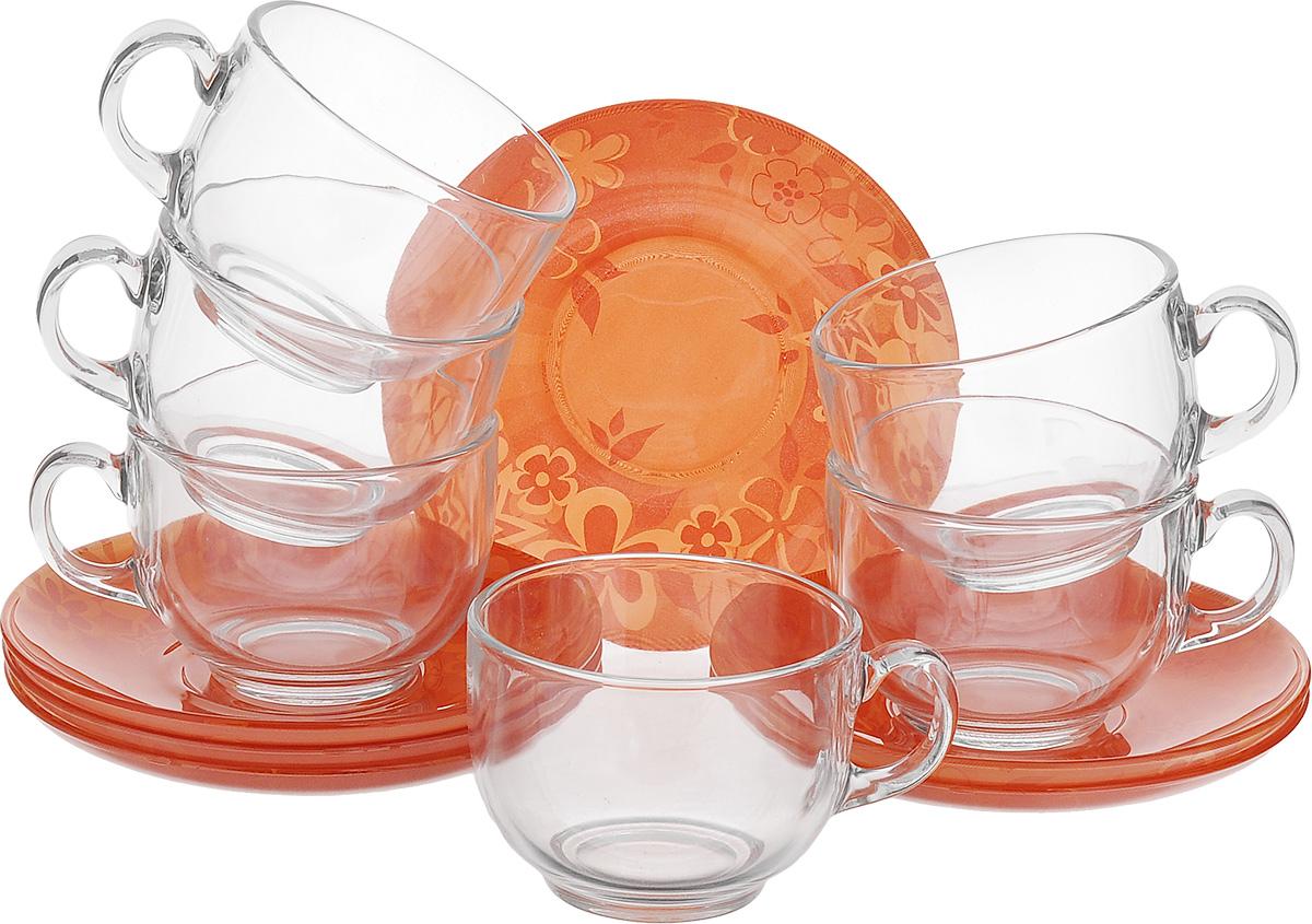 Набор чайный Luminarc Little Flowers, 12 предметовG6912Чайный набор Luminarc Little Flowers состоит из 6 чашек и 6 блюдец. Изделия выполнены из высококачественного ударопрочного стекла, имеют яркий дизайн с красивым цветочным рисунком и классическую форму. Посуда отличается прочностью, гигиеничностью и долгим сроком службы, она устойчива к появлению царапин и резким перепадам температур. Такой набор прекрасно подойдет как для повседневного использования, так и для праздников или особенных случаев. Чайный набор Luminarc - это не только яркий и полезный подарок для родных и близких, это также великолепное дизайнерское решение для вашей кухни или столовой. Изделия можно мыть в посудомоечной машине и использовать в СВЧ-печи. Объем чашки: 220 мл. Диаметр чашки (по верхнему краю): 8,5 см. Высота чашки: 6 см. Диаметр блюдца: 13,5 см.