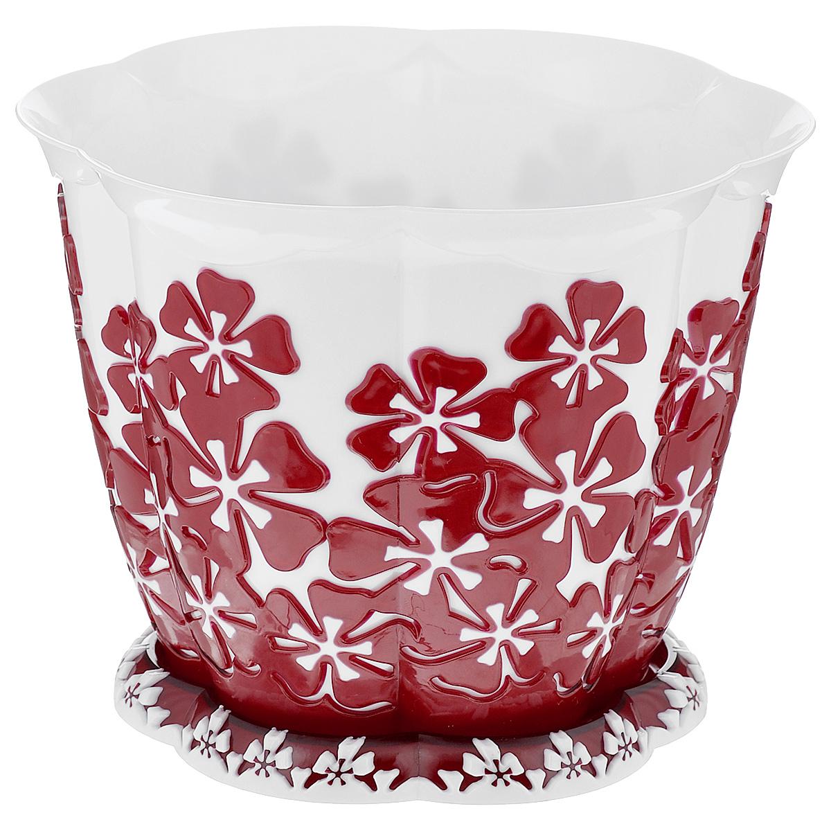 Горшок цветочный Альтернатива Камелия, с поддоном, цвет: белый, красный, 1,5 лМ2206Горшок для цветов Альтернатива Камелия представляет собой пластиковую емкость, декорированную цветочным орнаментом. Изделие оснащено поддоном для стока жидкости. Горшок имеет стильный дизайн, поэтому прекрасно впишется в любой интерьер. Диаметр по верхнему краю: 16 см. Высота: 12,5 см. Объем горшка: 1,5 л.
