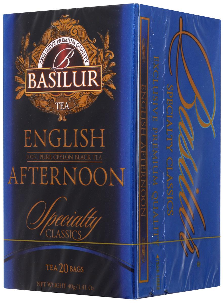 Basilur English Afternoon черный чай в пакетиках, 20 шт70176-00Basilur English Afternoon - черный мелколистовой байховый чай в пакетиках с ярлычками для разовой заварки. Традиция английского чаепития возникла в 1840 году благодаря супруге 7-го герцога Бедфорда княгине Анне Марии. Этот сорт идеально подходит в качестве послеобеденного чая. Он имеет яркий цвет и бодрящий, освежающий вкус.
