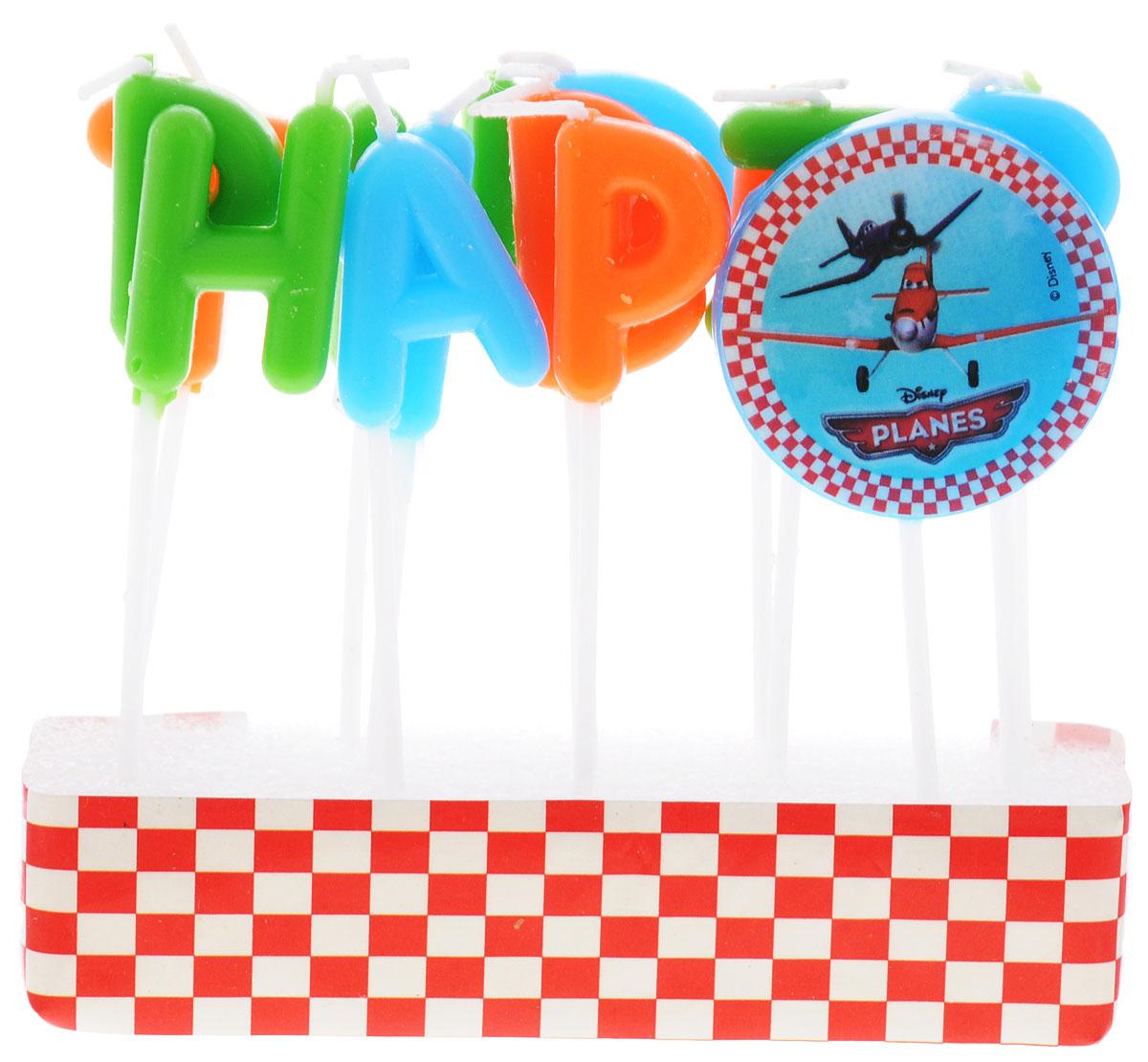 Procos Свечи-буквы для торта детские Самолеты Happy Birthday82108Свечи-буквы для торта Procos Самолеты: Happy Birthday - это оригинальные свечи, состоящие из латинских букв, с помощью которых на праздничном торте можно сложить слова Happy Birthday. Каждая свеча находится на деревянной палочке, благодаря чему зафиксировать их в торте не составит трудности. Значок с изображением героев одноименного мультфильма украсит торт. В наборе: 13 свечей-букв и 1 свечка со значком.