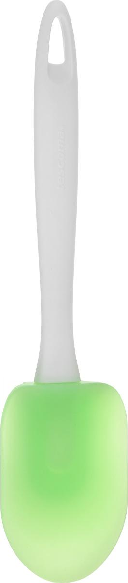 Лопатка-ложка Tescoma Presto, цвет: салатовый, длина 26 см420506_салатовыйЛопатка-ложка Tescoma Presto, изготовленная из высококачественного пластика и жароупорного силикона, пригодна для посуды всех видов, особенно для посуды с антипригарным покрытием, поверхность которой не повредит. Лопатка оснащена эргономичной ручкой, которая не скользит в руках и делает ее использование удобным и безопасным. Ручка снабжена специальным отверстием для подвешивания. Лопатка-ложка Tescoma Presto займет достойное место среди аксессуаров на вашей кухне. Можно мыть в посудомоечной машине. Длина лопатки: 26 см. Размер рабочей поверхности: 9 см х 6,5 см.