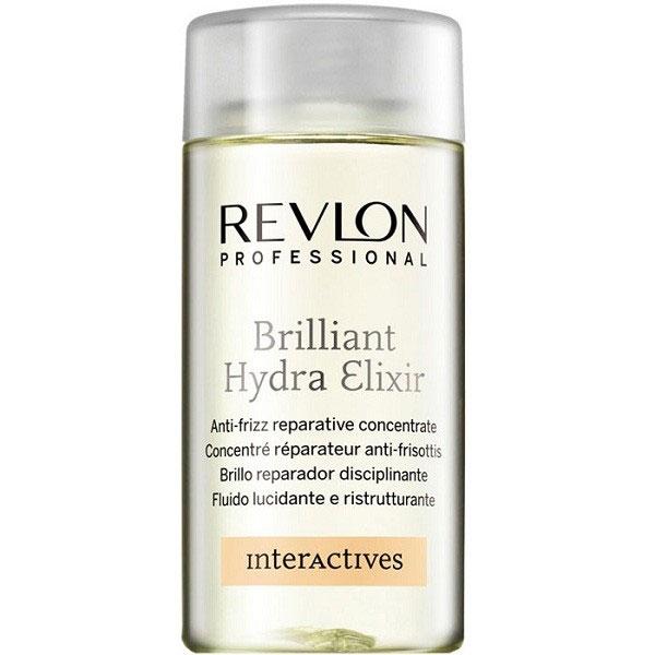Revlon Professional Interactives Концентрат восстанавливающий для волос Brilliant Hydra Elixir 125 мл7200598000Любая женщина мечтает о густых и здоровых волосах, сияющих насыщенным бриллиантовым блеском. С восстанавливающим концентратом для волос от Revlon Ваши мечты становятся явью! Средство придает даже сухим и ломким волосам небывалый блеск и сияние, улучшает процедуру расчесывания и укладки, интенсивно увлажняет и разглаживает волосы. Используйте концентрат Brilliant Hydra Elixir уже сегодня и наблюдайте, как Ваши волосы меняются день ото дня!