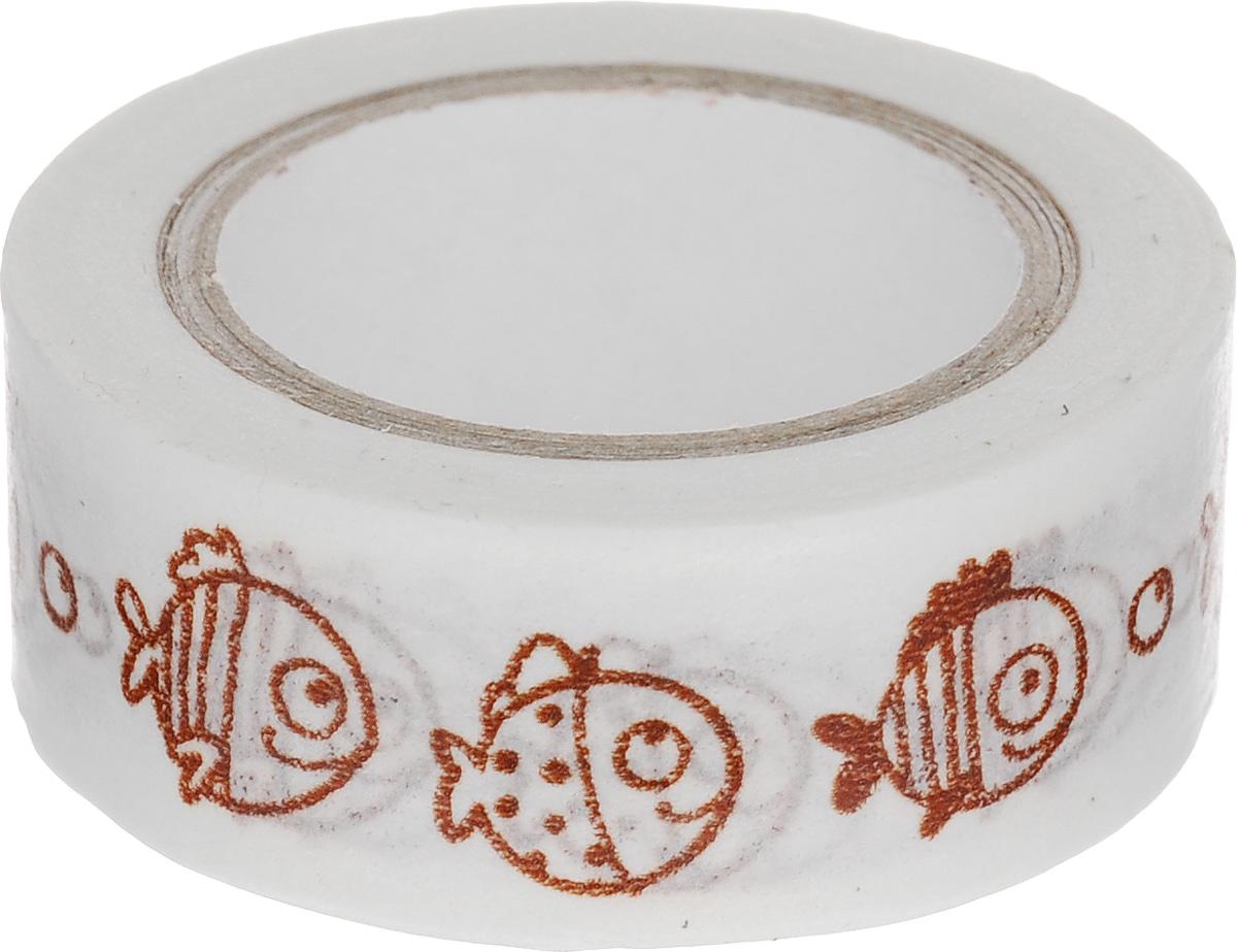 Скотч декоративный ScrapBerrys Рыбки-2, 1,5 х 800 см7714661Декоративный скотч ScrapBerrys Рыбки-2 выполнен из плотной бумаги с оригинальным рисунком. Такой скотч прекрасно подойдет для декора и оформления творческих работ в технике скрапбукинг или флористика, а также для изготовления бантиков, украшения подарочных коробок, открыток и многого другого. Яркий дизайнерский скотч разнообразит вашу работу и добавит вдохновения для новых идей. Ширина скотча: 1,5 см. Длина скотча: 8 м.