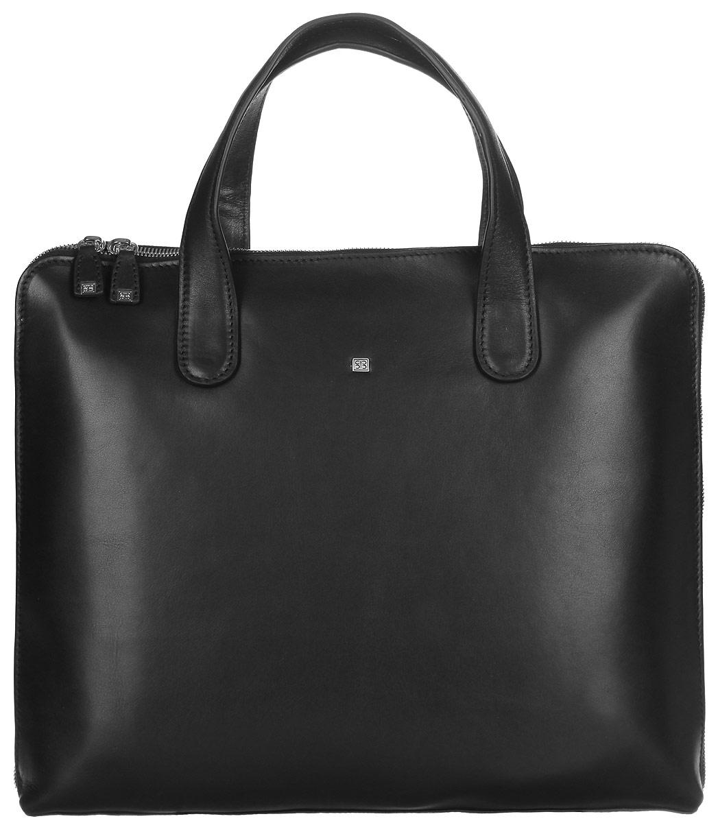 Бизнес-сумка мужская Sergio Belotti, цвет: черный. 9846-369846-36 west blackБизнес-сумка мужская Sergio Belotti выполнена из натуральной кожи и оформлена металлической фурнитурой с символикой бренда. Изделие закрывается на металлическую застежку-молнию. Сумка состоит из одного вместительного отделения, внутри которого имеются прорезной карман на застежке молнии, два накладных кармана, один из которых сетчатый, карман-средник на молнии. Внешняя стенка среднего кармана дополнена кармашком для телефона, двумя фиксаторами для ручек и четырьмя кармашками для кредитных карт. Накладные карманы фиксируются хлястиком на липучку. В задней стенке изделия расположен продольный прорезной карман, также закрывающийся на застежку-молнию. Сумка имеет две практичные ручки для переноски. Стильная бизнес-сумка станет практичным аксессуаром, который идеально дополнит ваш образ.
