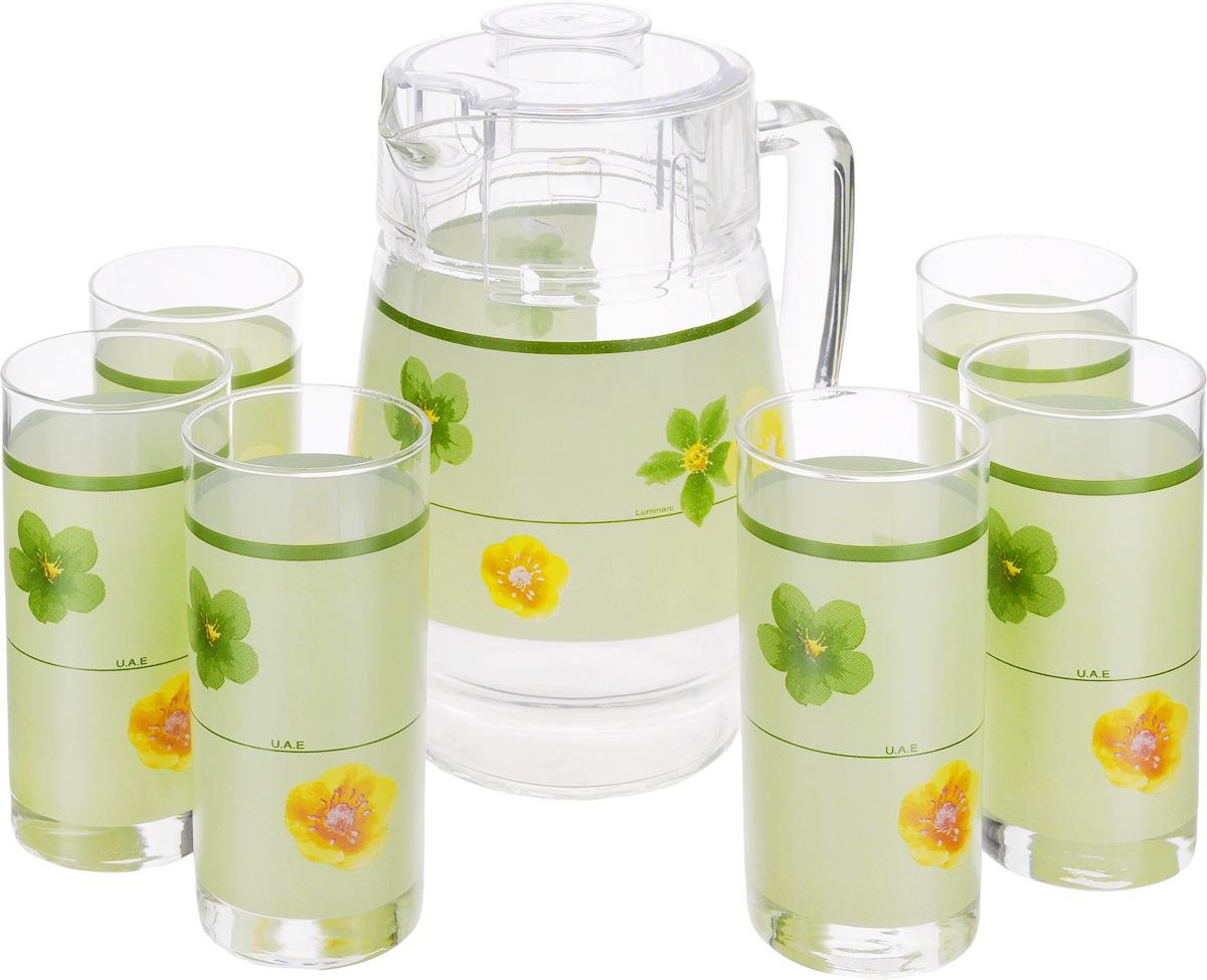 Набор питьевой Luminarc Poeme Anis, 7 предметовD2766Питьевой набор Luminarc Poeme Anis состоит из 6 стаканов и кувшина. Изделия выполнены из высококачественного прочного стекла и декорированы красивым изображением цветов на зеленом фоне. Набор прекрасно подходит для сока, воды, лимонада и других напитков. Изделия устойчивы к повреждениям и истиранию, в процессе эксплуатации не впитывают запахи и сохраняют первоначальные краски. Посуда Luminarc обладает не только высокими техническими характеристиками, но и красивым эстетичным дизайном. Luminarc - это современная, красивая, практичная столовая посуда. Можно мыть в посудомоечной машине. Объем кувшина: 1,6 л. Диаметр кувшина (по верхнему краю): 10 см. Высота кувшина (без учета крышки): 20,5 см. Объем стакана: 270 мл. Диаметр стакана (по верхнему краю): 6 см. Высота стакана: 13,5 см.