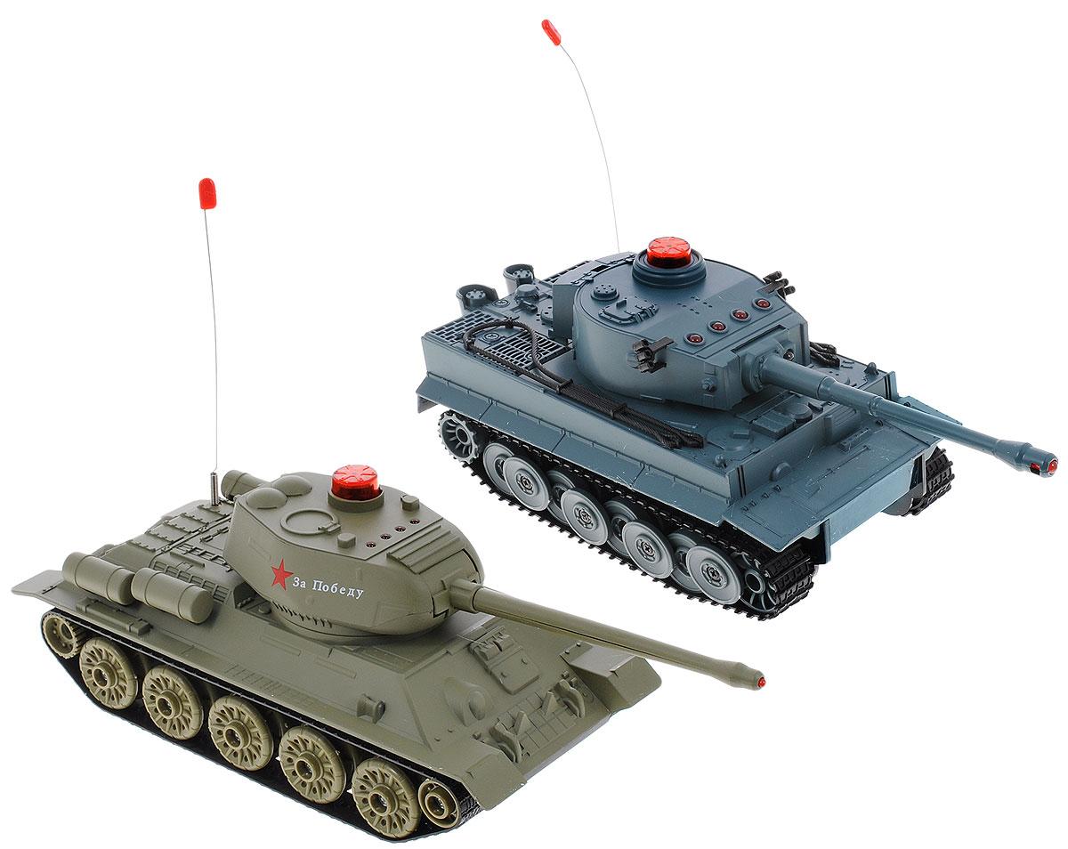 ABtoys Набор танков на радиоуправлении Танковый бой Т34 vs ТигрC-00135(508-T)Набор танков на радиоуправлении ABtoys Танковый бой. Т34 vs Тигр - отличный подарок не только ребенку, но и взрослому, увлекающемуся военной техникой. Набор включает в себя радиоуправляемые модели легендарных танков времен Великой Отечественной Войны - советского Т34 и немецкого Тигра, между которыми можно устроить настоящий танковый бой!. Танки изготовлены из прочного пластика, оснащены светодиодами, загорающимися во время вращения башни. Игрушки выполнены с вниманием к деталям. В комплект также входят наклейки для украшения. Танки имеют высокую скорость движения. Стволы танков поднимаются и опускаются, башни поворачиваются. При помощи пульта управления танки могут двигаться вперед, назад, поворачивать влево и вправо на 360°. Набор оснащен звуковыми эффектами: во время сражения раздаются реалистичные звуки выстрелов, звук движущейся машины и шум поворота пушки. На башне каждого танка имеется световой индикатор жизней - вы можете устроить настоящее...