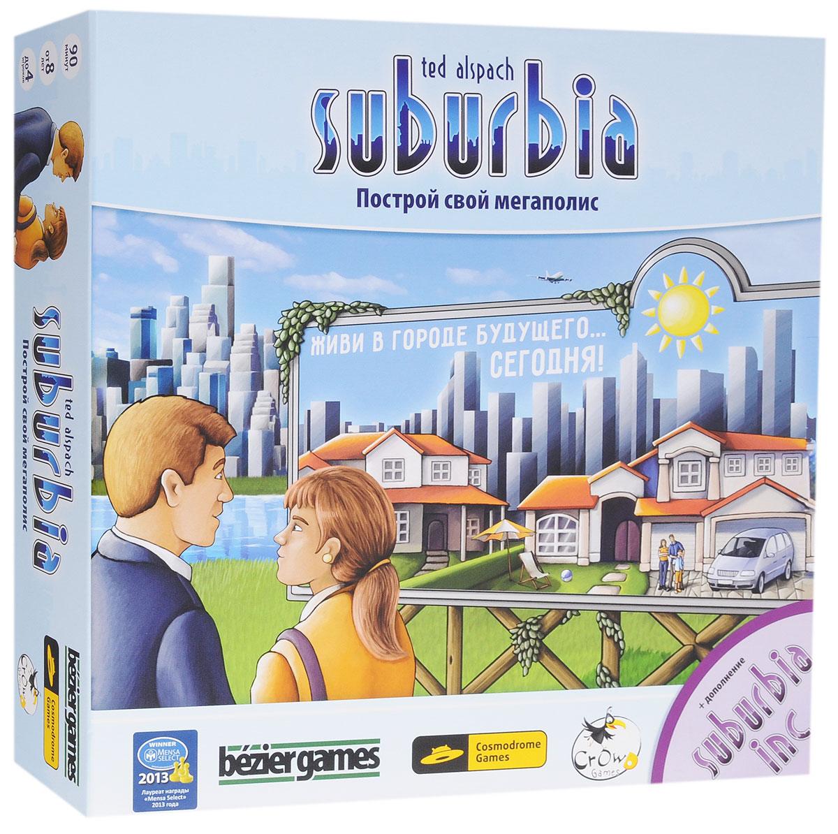 Bezier Games Настольная игра Suburbia Построй свой мегаполис52001Планируйте, застраивайте и развивайте свой маленький округ - однажды он превратится в настоящий мегаполис! Выкладывая на стол шестиугольные жетоны, стройте жилые, коммерческие, общественные и промышленные здания. Некоторые из них не только навсегда изменят облик вашего округа, но и позволят сделать это за счёт соседних округов. Принцип игры Каждый ход участники игры определенным образом выкладывают перед собой жетоны, стараясь создать эффективную экономическую городскую модель, которая одновременно принесет их округам прибыль и привлечет в них новых жителей. По мере роста вашего округа его доход и репутация будут меняться. Благодаря повышению дохода у вас на руках окажутся дополнительные деньги, на которые вы сможете купить более дорогие и полезные здания, такие как международный аэропорт и поднимающийся до самых облаков бизнес-центр. Повышение репутации скажется на увеличении населения, что особенно важно, поскольку в игре побеждает владелец округа с наибольшим...