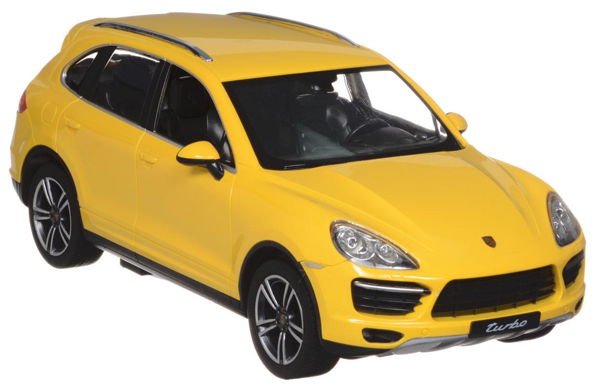 Rastar Радиоуправляемая модель Porsche Cayenne Turbo цвет желтый масштаб 1:1442900_желтыйРадиоуправляемая модель Rastar Porsche Cayenne Turbo обязательно привлечет внимание взрослого и ребенка и понравится любому, кто увлекается автомобилями. Все дети хотят иметь в наборе своих игрушек ослепительные, невероятные и крутые автомобили на радиоуправлении. Тем более если это автомобиль известной марки с проработкой всех деталей, удивляющий приятным качеством и видом. Маневренная и реалистичная уменьшенная копия Porsche Cayenne Turbo выполнена в точной детализации с настоящим автомобилем в масштабе 1:14. Управление машинкой происходит с помощью удобного пульта. Автомобиль двигается вперед и назад, поворачивает направо и налево. Автомобиль изготовлен из пластика с металлическими элементами. Колеса игрушки прорезинены и обеспечивают плавный ход, машинка не портит напольное покрытие. Радиоуправляемые игрушки способствуют развитию координации движений, моторики и ловкости. Ваш ребенок часами будет играть с моделью, придумывая различные истории и устраивая...