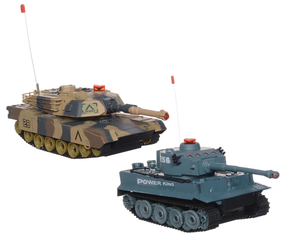 Ginzzu Набор танков на радиоуправлении Танковый бой508-10Игровой набор Танковый бой со световыми и звуковыми эффектами, состоящий из двух миниатюрных танков с полнофункциональным управлением и инфракрасным наведением, привлечет внимание не только ребенка, но и взрослого и станет отличным подарком любителю военной техники. Набор состоит из двух танков, двух пультов управления, аккумуляторов и зарядных устройств. Основные направления движения танков: вперед-назад, вправо-влево, поворот на месте. Башня поворачивается направо и налево. Танки оснащены индикатором количества выстрелов.Танки изготовлены из современных прочных материалов, устойчивых к небольшим крушениям. Для большей реалистичности модели оснащены световыми и звуковыми эффектами. Танки работают от аккумуляторов, зарядка которых производится от зарядного устройства, подключающегося к электрической сети. Ваш малыш с удовольствием будет играть с набором, придумывая различные истории. Порадуйте своего ребенка таким замечательным подарком. ...