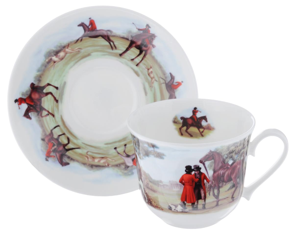 Чайная пара Roy Kirkham Охота, 2 предметаXTAL1100Чайная пара Roy Kirkham Охота состоит из чашки и блюдца, изготовленных из тонкостенного костяного фарфора высшего качества, отличающегося необыкновенной прочностью и небольшим весом. Изделия оформлены цветным рисунком. Яркий дизайн, несомненно, придется вам по вкусу. Чайная пара Roy Kirkham Охота украсит ваш кухонный стол, а также станет замечательным подарком к любому празднику. Объем чашки: 500 мл. Диаметр чашки по верхнему краю: 10,5 см. Высота чашки: 8,5 см. Диаметр блюдца: 17 см. Высота блюдца: 3 см.