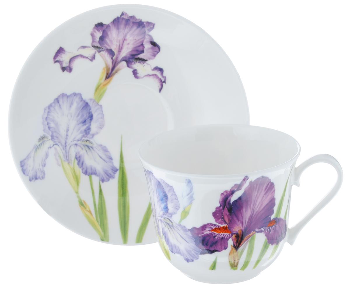 Чайная пара Roy Kirkham Ирис, 2 предметаXIRIS1100Чайная пара Roy Kirkham Ирис состоит из чашки и блюдца, изготовленных из тонкостенного костяного фарфора высшего качества, отличающегося необыкновенной прочностью и небольшим весом. Изделия оформлены цветочным рисунком. Яркий дизайн, несомненно, придется вам по вкусу. Чайная пара Roy Kirkham Ирис украсит ваш кухонный стол, а также станет замечательным подарком к любому празднику. Объем чашки: 500 мл. Диаметр чашки по верхнему краю: 10,5 см. Высота чашки: 8,5 см. Диаметр блюдца: 17 см. Высота блюдца: 3 см.