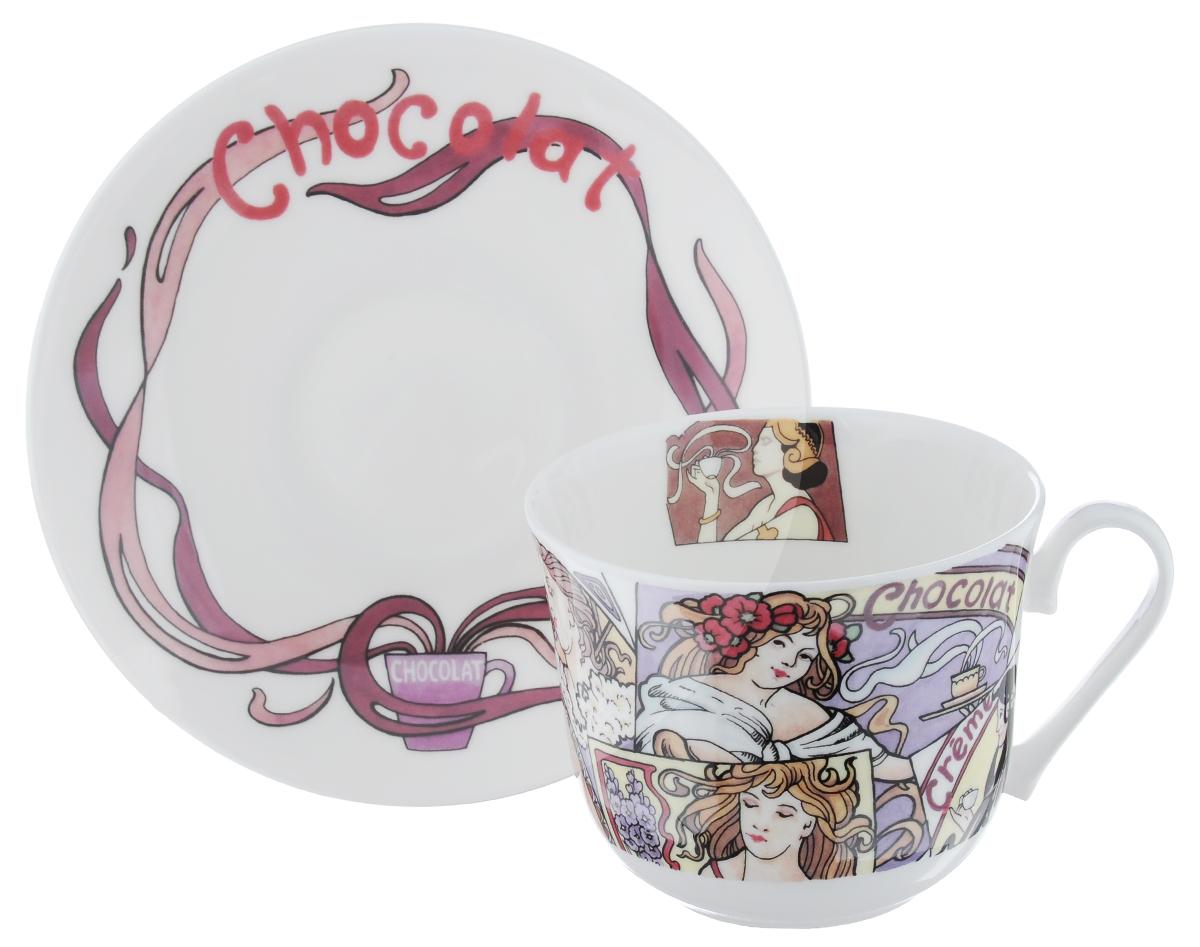 Чайная пара Roy Kirkham Горячий шоколад, 2 предметаCOHOT1101Чайная пара Roy Kirkham Горячий шоколад состоит из чашки и блюдца, изготовленных из тонкостенного костяного фарфора высшего качества, отличающегося необыкновенной прочностью и небольшим весом. Изделия оформлены цветным рисунком. Яркий дизайн, несомненно, придется вам по вкусу. Чайная пара Roy Kirkham Горячий шоколад украсит ваш кухонный стол, а также станет замечательным подарком к любому празднику. Объем чашки: 500 мл. Диаметр чашки по верхнему краю: 10,5 см. Высота чашки: 8,5 см. Диаметр блюдца: 17 см. Высота блюдца: 2,5 см.