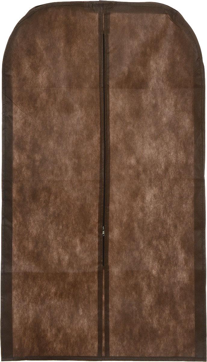 Чехол для одежды Eva, объемный, цвет: коричневый, 65 х 110 х 10 смЕ34_коричневыйОбъемный чехол для одежды Eva изготовлен из высококачественного полипропилена и нетканого материала. Особое строение полотна создает естественную вентиляцию, позволяя воздуху проникать внутрь, но не пропускает пыль. Чехол очень удобен в использовании. Благодаря наличию боковой вставки увеличивает объем чехла, что позволяет хранить крупные объемные вещи. Это особенно необходимо для меховой, кожаной и шерстяной одежды. Чехол легко открывается и закрывается застежкой-молнией. Чехол для одежды Eva создаст уютную атмосферу в женском гардеробе. Лаконичный дизайн придется по вкусу ценительницам эстетичного хранения и сделают вашу гардеробную изысканной и невероятно стильной.