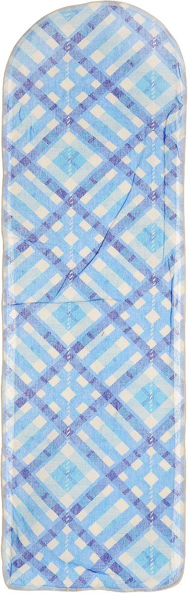 Чехол для гладильной доски Eva, цвет: синий, голубой, белый, 120 х 38 смЕ13*_синий, голубой в клеткуХлопчатобумажный чехол Eva для гладильной доски с поролоновым слоем продлит срок службы вашей гладильной доски. Чехол снабжен стягивающим шнуром, при помощи которого вы легко отрегулируете оптимальное натяжение чехла и зафиксируете его на рабочей поверхности гладильной доски. При выборе чехла учитывайте, что его размер должен быть больше размера покрытия доски минимум на 5 см. Рекомендуется заменять чехол не реже 1 раза в 3 года. Размер чехла: 120 см х 38 см. Максимальный размер доски: 112 см х 32 см.
