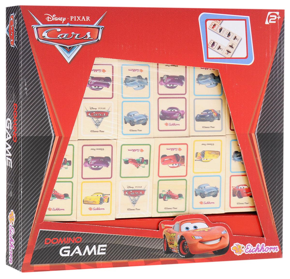 Eichhorn Настольная игра Домино Тачки3283Домино - увлекательная игра с яркими изображениями героев диснеевского мультфильма Тачки. В наборе 28 элементов из натурального дерева с изображениями любимых веселых машинок. Домино - это великолепная логическая игра, развивающая сообразительность и внимательность. Она нравится как детям, так и взрослым, поэтому можно играть в нее большой дружной компанией. Игра способствует развитию внимания, наблюдательности, логического мышления, способности к анализу ситуации, усидчивости, развивает сенсомоторную координацию и мелкую моторику рук, способствует социальному развитию.