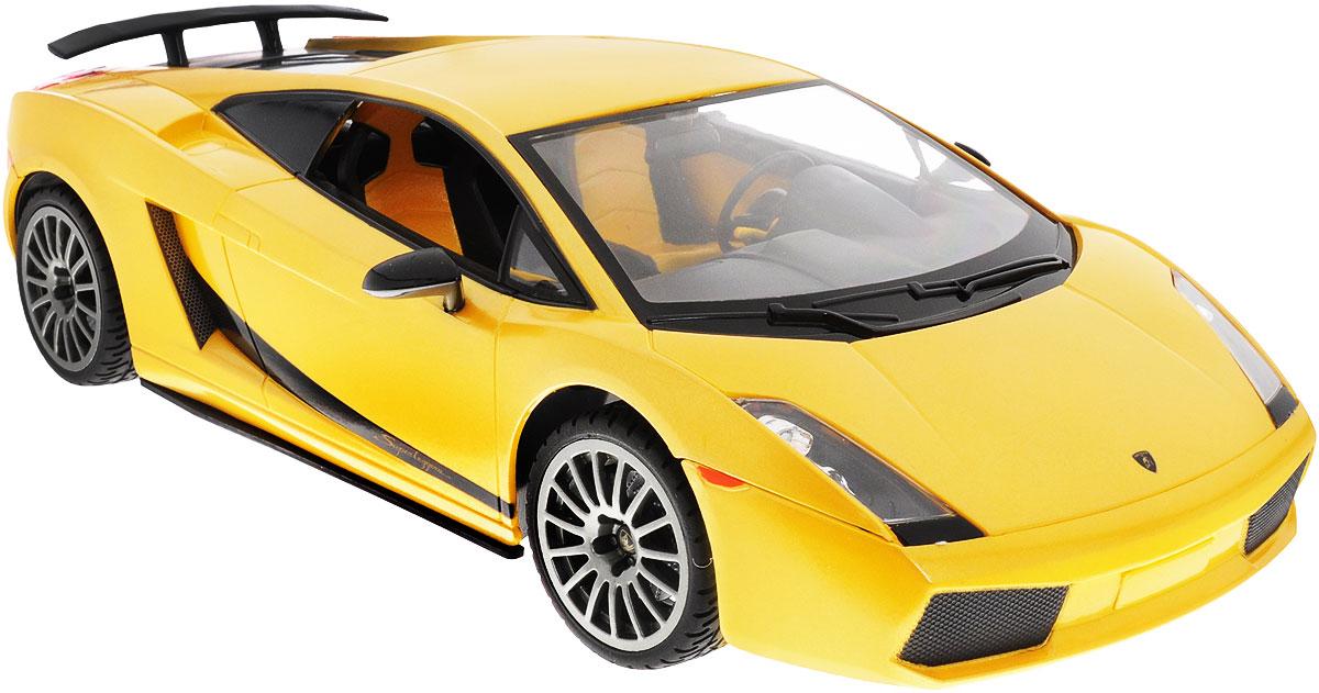 Rastar Радиоуправляемая модель Lamborghini Superleggera цвет желтый масштаб 1:1426400Радиоуправляемая модель Rastar Lamborghini Superleggera, выполненная из прочного пластика с металлическими элементами, является точной уменьшенной копией настоящего автомобиля в масштабе 1:14. Модель привлечет внимание не только ребенка, но и взрослого. Модель при помощи пульта управления движется вперед, дает задний ход, поворачивает влево и вправо, останавливается. Машина обладает высокой стабильностью движения, что позволяет полностью контролировать его процесс, управляя уверенно и без суеты. Модель оснащена световыми эффектами. Такая модель автомобиля станет отличным подарком не только автолюбителю, но и человеку, ценящему оригинальность и изысканность, а качество исполнения представит такой подарок в самом лучшем свете. Машина работает от 5 батареек типа АА напряжением 1,5V, пульт работает от батарейки 9V типа Крона (не входят в комплект).