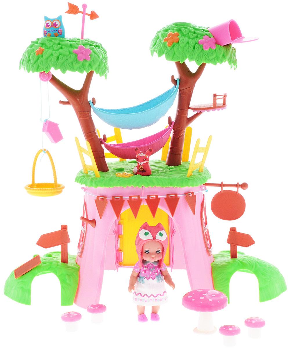 Chou Chou Игровой набор Дерево-домик920-282Игровой набор Chou Chou Дерево-домик приведет в восторг вашу малышку и станет великолепным дополнением для игр, открывая широкий простор для фантазии и вдохновения. Все элементы набора выполнены из прочного пластика. Набор включает в себя куклу в забавной шапочке, 2 питомцев: лисичку и сову, домик, 2 гамака, 4 элемента оградки, 2 дерева, качели, натяжные флажки, стол, 4 стула, вывеска, 2 знака, 2 лужайки. Домик оснащен световыми и звуковыми эффектами. Соединив все элементы набора, вы получите оригинальный домик и игровую площадку для кукол Chou Chou. Разместите внутри столик и стульчики в виде грибов и устройте веселое кукольное чаепитие! Малышка сможет часами играть с этим замечательным набором, он подарит ей множество счастливых мгновений. Необходимо докупить 3 батарейки типа ААА (в комплект не входят).