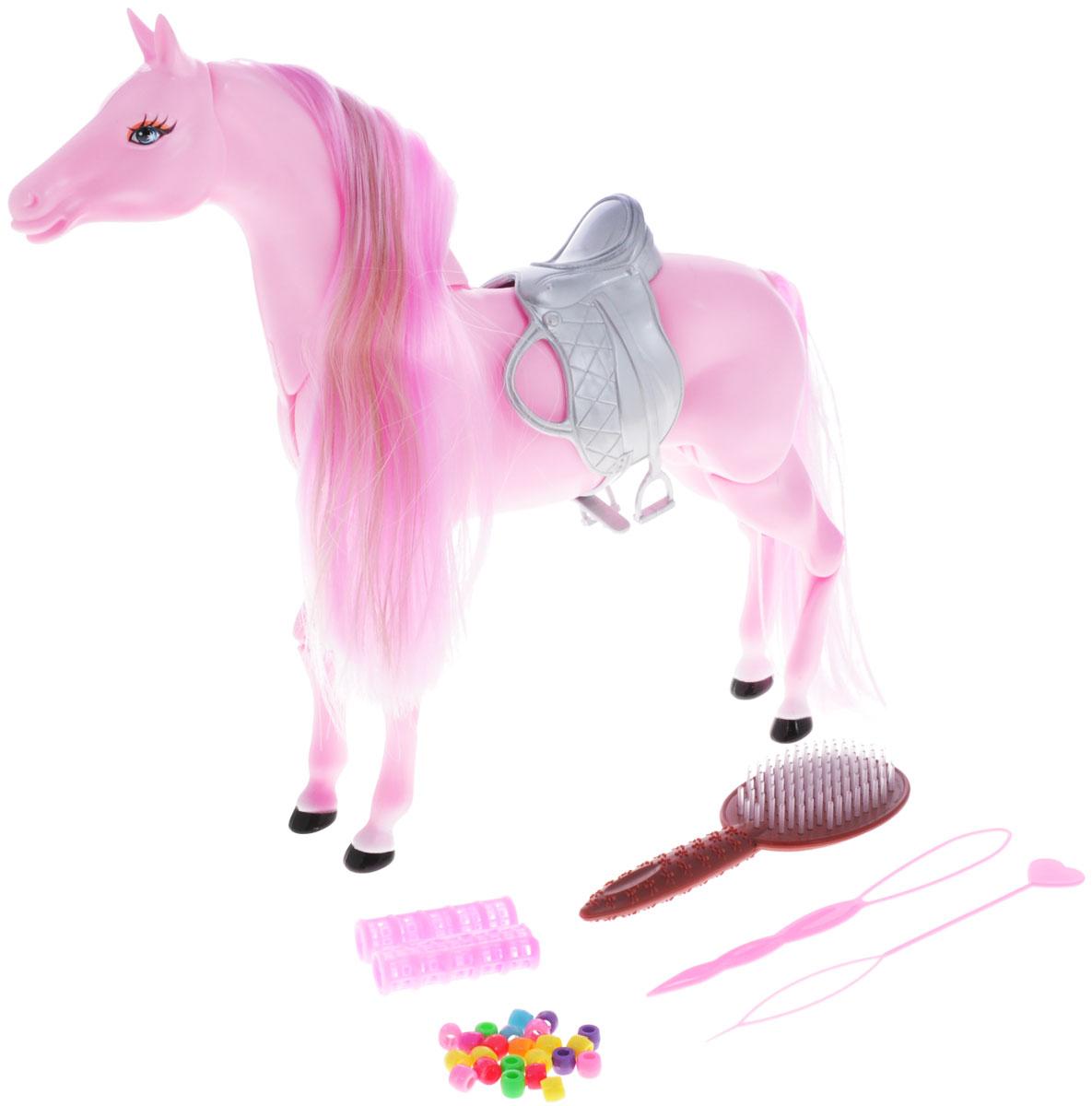 Defa Игровой набор Лошадь цвет розовый8011dИгрушка Defa Лошадь станет отличным подарком для девочки, ведь ни одна принцесса просто не может обойтись без красивой и шикарной лошадки. Розовая лошадка имеет шикарную розовую гриву с бежевой прядью, и длинный хвост, которые нуждаются в постоянном уходе. Для ухода за волосами лошадки и создания причесок в комплекте идут разнообразные украшения для волос, расческа, бигуди, 2 специальных инструмента. Цвет волос лошадки меняется под воздействием теплого воздуха, для этой цели можно использовать обычный фен. Голова, шея, конечности лошадки подвижны. Розовая пластмассовая лошадка Defa станет верным другом для каждой маленькой принцессы и сможет сделать любую игру более яркой и интересной. Теперь никто не будет скучать, и каждый ребенок вместе с родителями сможет увлеченно играться целыми часами и не терять интерес к новой игрушке. Ваша малышка будет проводить многие часы за игрой с лошадкой. Сделайте ей такой замечательный подарок!
