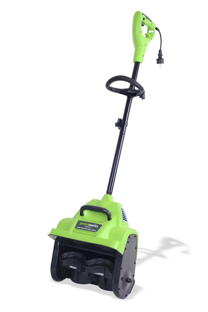 Снегоуборщик электрический Greenworks 950 Вт 30 см26027Рабочая ширина 30 см. Рабочая глубина 10,2 см. Гарантируемый предельный уровень звуковой мощности 99 децибел Дальность выброса 6 метров