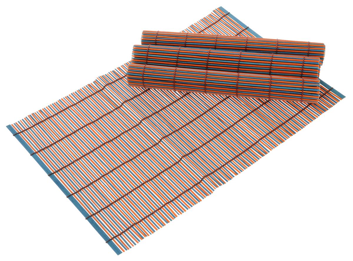 Набор салфеток для сервировки Bravo, цвет: темно-синий, оранжевый, 30 см х 45 см, 4 шт180Набор Bravo состоит из 4 бамбуковых салфеток. Салфетки из бамбука используются для сервировки стола в качестве подложки под столовые приборы, а также подставок под горячее. Предохраняют поверхность стола от механических воздействий и загрязнений. Могут использоваться как элемент декора, создавая особую атмосферу уюта и тепла. Очень практичны и просты в уходе, долговечны, легко моются и не впитывают запахи, и кроме того, обладают антиаллергенными и антимикробными свойствами.