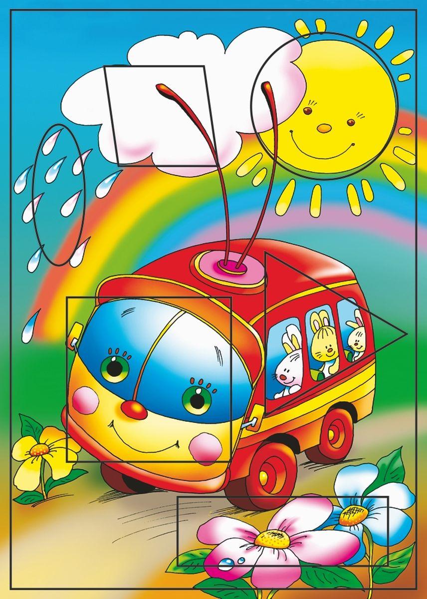 Дрофа-Медиа Пазл Троллейбус1210Пазл Дрофа-Медиа Троллейбус, без сомнения, придется по душе вашему ребенку. Собрав этот пазл, включающий в себя 6 элементов, вы получите картинку с изображением веселого троллейбуса на фоне радуги. Элементы пазла выкладываются на рамку, которая поможет малышу увидеть, что он делает правильно, а над чем еще нужно подумать. Детали пазла выполнены в виде квадратов. Пазл Дрофа-Медиа Троллейбус научит ребенка усидчивости, умению доводить начатое дело до конца, поможет развить внимание, память, образное и логическое мышление, сенсорно-моторную координацию движения рук. Разная величина и форма собираемых элементов картинки способствуют развитию мелкой моторики, которая напрямую влияет на развитие речи и интеллектуальных способностей. В дальнейшем хорошая координация движений рук поможет ребенку легко овладеть письмом.
