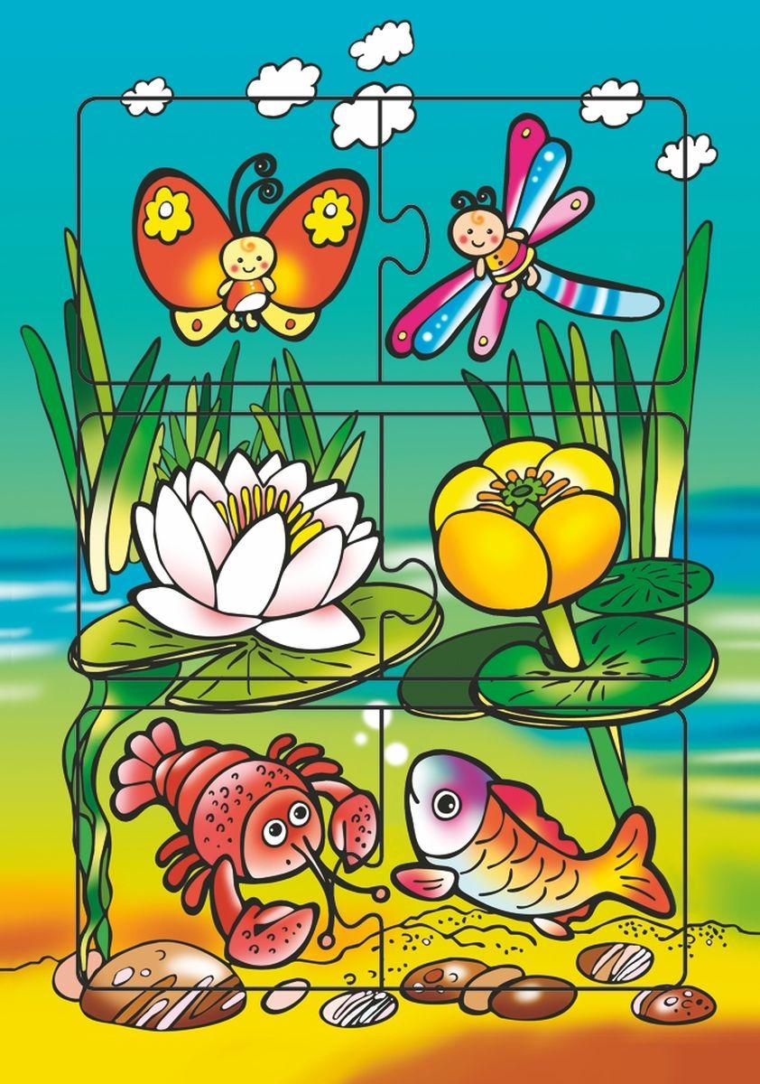 Дрофа-Медиа Пазл На озере1927Пазл Дрофа-Медиа На озере, без сомнения, придется по душе вашему ребенку. Собрав этот пазл, включающий в себя 6 элементов, вы получите картинку с изображением речных животных и растений. Элементы пазла выкладываются на рамку, которая поможет малышу увидеть, что он делает правильно, а над чем еще нужно подумать. Пазл Дрофа-Медиа На озере научит ребенка усидчивости, умению доводить начатое дело до конца, поможет развить внимание, память, образное и логическое мышление, сенсорно-моторную координацию движения рук. Собирание пазла способствует развитию мелкой моторики, которая напрямую влияет на развитие речи и интеллектуальных способностей. В дальнейшем хорошая координация движений рук поможет ребенку легко овладеть письмом.