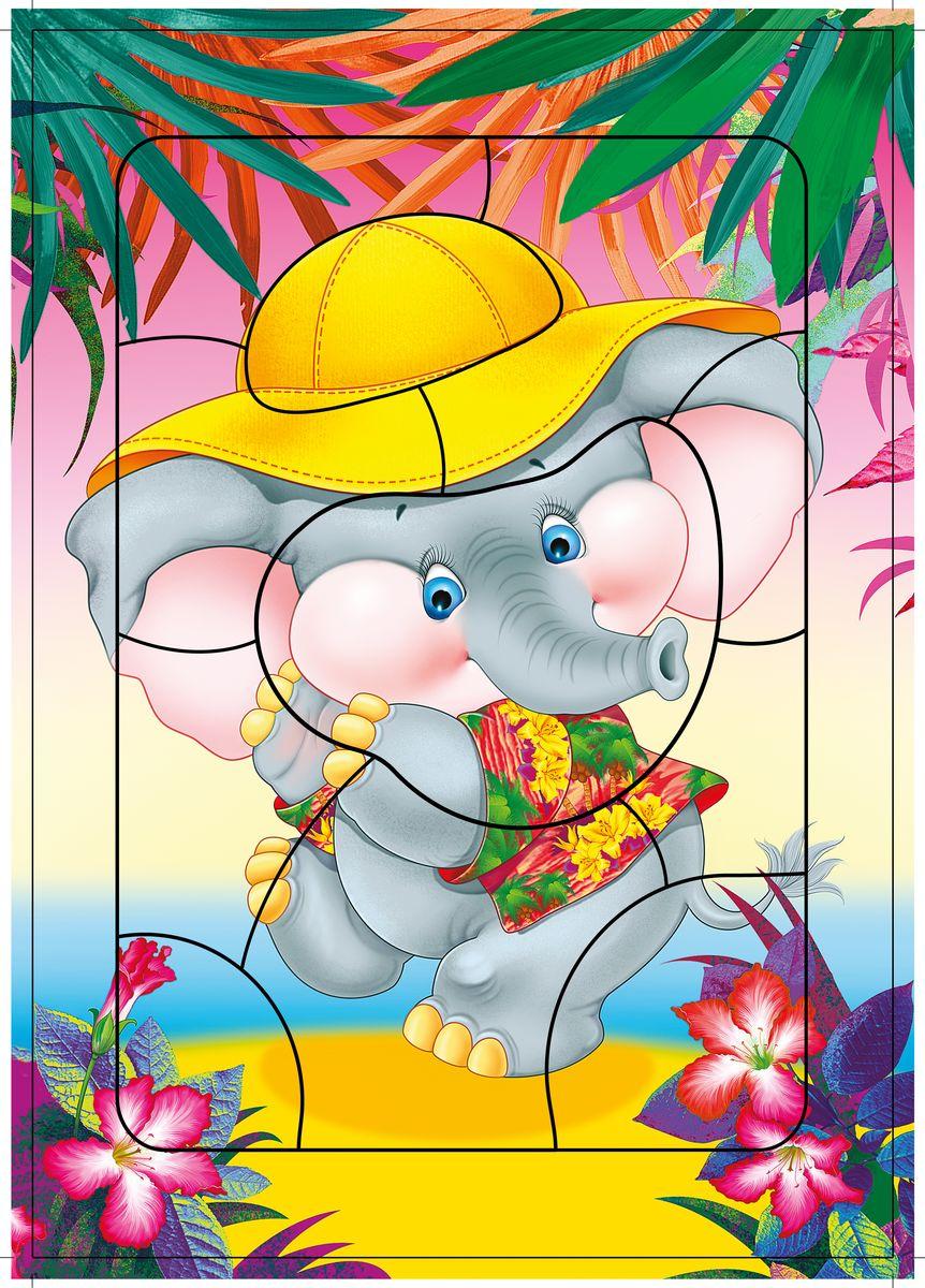 Дрофа-Медиа Пазл Слоненок2461Пазл Дрофа-Медиа Слоненок, без сомнения, придется по душе вашему ребенку. Собрав этот пазл, включающий в себя 11 элементов, вы получите картинку с изображением забавного слоненка в желтой шляпе. Элементы пазла выкладываются на рамку, которая поможет малышу увидеть, что он делает правильно, а над чем еще нужно подумать. Контуры деталей собираемой картинки, повторяющиеся на рамке, позволят не ошибиться в подборе правильного элемента, а картинка-подсказка поможет справиться с заданием самостоятельно. Пазл Дрофа-Медиа Слоненок научит ребенка усидчивости, умению доводить начатое дело до конца, поможет развить внимание, память, образное и логическое мышление, сенсорно-моторную координацию движения рук. Разная величина и форма собираемых элементов картинки способствуют развитию мелкой моторики, которая напрямую влияет на развитие речи и интеллектуальных способностей. В дальнейшем хорошая координация движений рук поможет ребенку легко овладеть письмом.