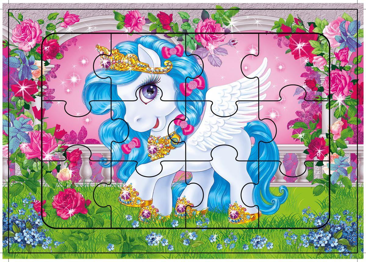 Дрофа-Медиа Пазл Лошадка-Пегасочка2464Пазл Дрофа-Медиа Лошадка-Пегасочка, без сомнения, придется по душе вашему ребенку. Собрав этот пазл, включающий в себя 12 элементов, вы получите картинку с изображением очаровательной лошадки с голубой гривой. Элементы пазла выкладываются на рамку, которая поможет малышу увидеть, что он делает правильно, а над чем еще нужно подумать. Контуры деталей собираемой картинки, повторяющиеся на рамке, позволят не ошибиться в подборе правильного элемента, а картинка-подсказка поможет справиться с заданием самостоятельно. Пазл Дрофа-Медиа Лошадка-Пегасочка научит ребенка усидчивости, умению доводить начатое дело до конца, поможет развить внимание, память, образное и логическое мышление, сенсорно-моторную координацию движения рук. Разная величина и форма собираемых элементов картинки способствуют развитию мелкой моторики, которая напрямую влияет на развитие речи и интеллектуальных способностей. В дальнейшем хорошая координация движений рук поможет ребенку легко овладеть письмом.
