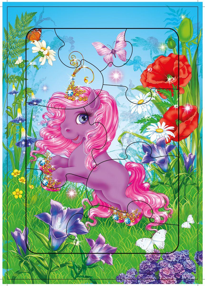 Дрофа-Медиа Пазл Лошадка-принцесса2465Пазл Дрофа-Медиа Лошадка-принцесса, без сомнения, придется по душе вашему ребенку. Собрав этот пазл, включающий в себя 8 элементов, вы получите картинку с изображением очаровательной лошадки с розовой гривой. Элементы пазла выкладываются на рамку, которая поможет малышу увидеть, что он делает правильно, а над чем еще нужно подумать. Контуры деталей собираемой картинки, повторяющиеся на рамке, позволят не ошибиться в подборе правильного элемента, а картинка-подсказка поможет справиться с заданием самостоятельно. Пазл Дрофа-Медиа Лошадка-принцесса научит ребенка усидчивости, умению доводить начатое дело до конца, поможет развить внимание, память, образное и логическое мышление, сенсорно-моторную координацию движения рук. Разная величина и форма собираемых элементов картинки способствуют развитию мелкой моторики, которая напрямую влияет на развитие речи и интеллектуальных способностей. В дальнейшем хорошая координация движений рук поможет ребенку легко овладеть письмом.