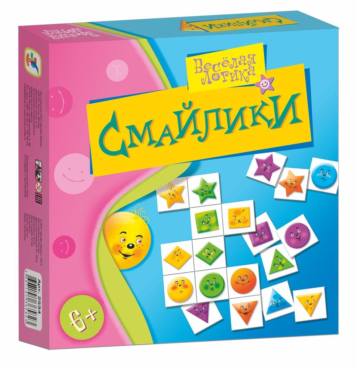 Дрофа-Медиа Настольная игра Смайлики2534Настольная игра Смайлики позволит ребенку весело и увлекательно провести свободное время. Увлекательная игра для всей семьи понравится и детям, и взрослым: в ней есть как элемент случайности, так и простор для стратегических решений. Игра развивает образное и логическое мышление, внимание, усидчивость, умение планировать свои действия. Игра позволит весело провести время не только детям, но и взрослым. Настольная игра Смайлики станет незаменимым подарком вашим близким и родным людям!
