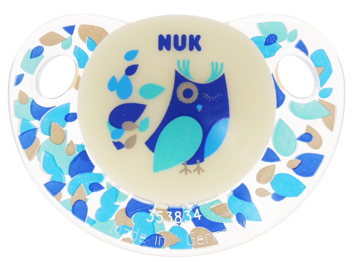 NUK Пустышка латексная Night & Day ортодонтическая от 18 до 36 месяцев цвет прозрачный