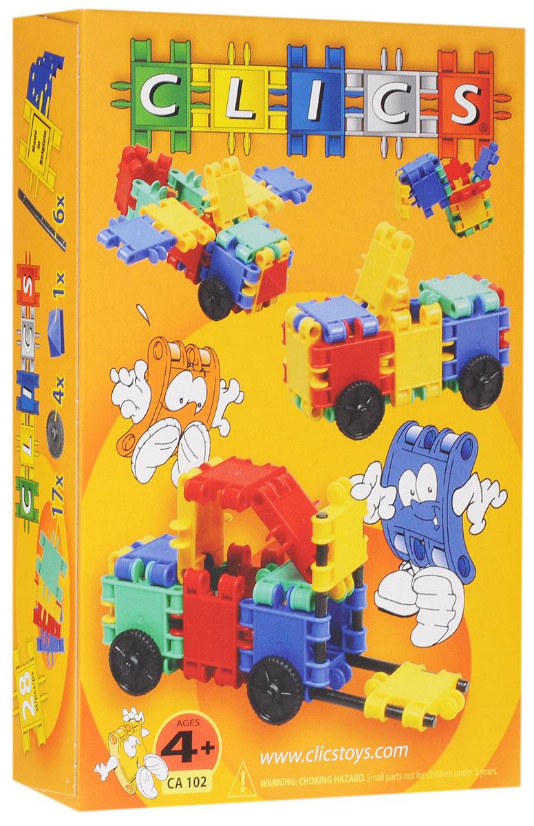 Clics Конструктор CA102CA102Конструктор Clics - отличный набор для всестороннего развития вашего ребенка. Особенность конструктора заключается в том, что он позволяет ребенку строить бесконечные забавные модели, руководствуясь своей фантазией. Элементы конструктора выполнены в ярких цветах. Все наборы Clics легко дополняют друг друга и помимо неимоверного количества игровых построек, позволяют собирать геометрические фигуры, выкладывать разноцветные орнаменты. Конструктор способствует творческому развитию, а также развитию логического мышления, мелкой моторики рук, стимулирует стремление к поиску решений задач. Конструктор содержит: 17 элементов, 4 колеса, 6 осей и одну пирамидку.