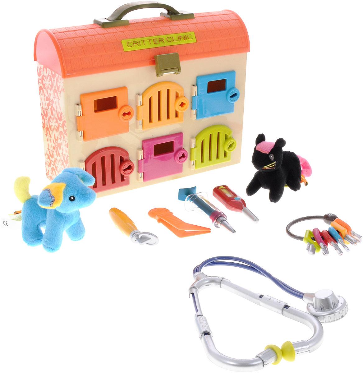 Just B. Just You. B. You Игровой набор Ветеринарная клиника цвет оранжевый68614_оранжевыйИгровой набор Just B. Just You. B. You Ветеринарная клиника приведет в восторг любого малыша, который любит животных или мечтает стать ветеринаром. Набор включает в себя удобный чемоданчик с дверцами, разноцветные ключики, пинцет, фонендоскоп, зеркальце, шприц и термометр. Красочный набор станет игрушкой для каждого отзывчивого и доброго малыша. Ребенок с радостью будет лечить своих плюшевых питомцев. Чемоданчик дополнен шестью разноцветными дверцами с замочными скважинами различной формы, а ключики к ним помечены соответствующими цветами, так что малышу не составит труда подобрать нужный ключик. Взрослые также могут принять участие в игре, познакомив малыша с назначением и способах применения различных ветеринарных инструментов. Инструменты и чемоданчик выполнена из прочного высококачественного пластика, игрушки-пациенты покрыты мягким искусственным мехом. С игровым набором Just B. Just You. B. You Ветеринарная клиника  ваш маленький ветеринар непременно вылечит всех...