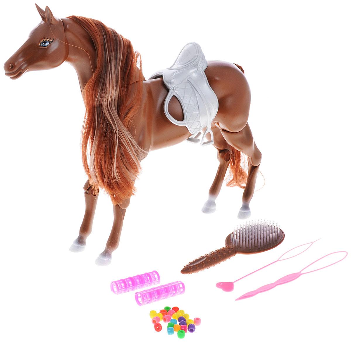 Defa Игрушка Лошадь цвет коричневый8011d_коричневыйИгрушечная лошадка от Defa станет отличным подарком для девочки. Красивая голубоглазая лошадка имеет шикарную коричневую гриву с розовой прядью и длинный хвост, которые нуждаются в постоянном уходе. Для ухода за волосами лошадки и создания причесок в комплекте идут разнообразные украшения для волос, расческа, бигуди, 2 специальных инструмента. Гриву и хвост можно расчесывать, заплетать в косички и хвостики и украшать. Цвет волос лошадки меняется под воздействием теплого воздуха - для этой цели можно использовать обычный фен. Голова, шея, конечности лошадки подвижны. Ваша малышка будет проводить многие часы за игрой с лошадкой. Сделайте ей такой замечательный подарок!