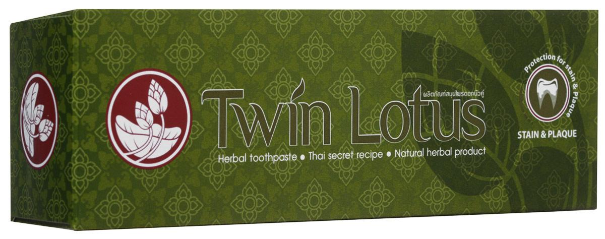 Twin Lotus Зубная паста Рецепт от налета и пятен на зубах, 120 г0537Растительные зубные пасты Twin Lotus содержат более 96% натуральных ингредиентов, в подтверждение этого – темный цвет пасты, достигнутый благодаря смешиванию разных трав и процессу изготовления с использованием современного оборудования.