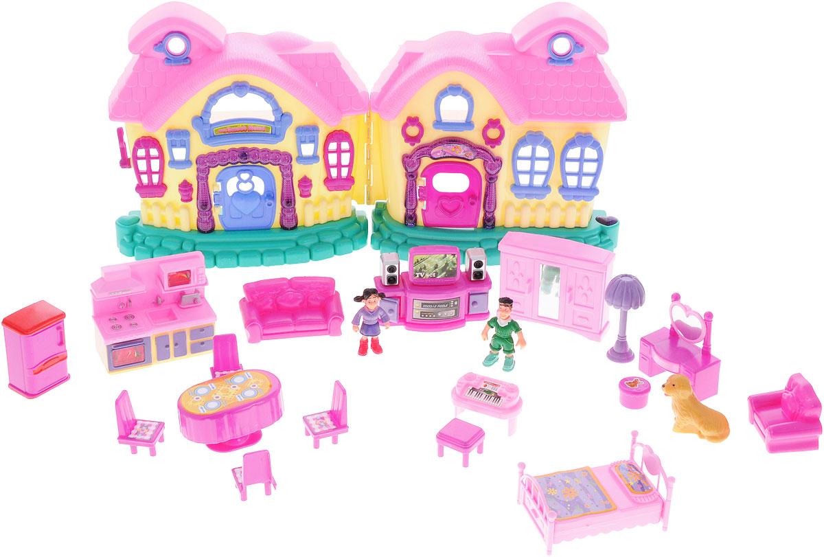 1TOY Игровой набор Мой маленький мир ДомикТ52959Шикарный набор для маленьких кукол Домик привлечет внимание вашей малышки и не позволит ей скучать. Комплект включает в себя пластиковый двухэтажный домик со всеми необходимыми аксессуарами и предметами мебели для создания различных интерьеров, фигурки мальчика, девочки и большой собаки. Аксессуары включают предметы обстановки гостиной, спальни, кухни, столовой. Для игры с домиком подходят любые крохотные куколки и пупсики, фигурки животных. Прекрасный дом состоит из двух складывающихся створок. Он снабжен окошками и открывающимися дверьми, а также оснащен световыми и звуковыми эффектами. Играть с домиком можно как в сложенном, так и в разложенном виде - он достаточно большой. Такой набор, несомненно, придется по душе вашему ребенку. Порадуйте свою принцессу таким замечательным подарком! Необходимо докупить 2 батареи типа АА (не входят в комплект).