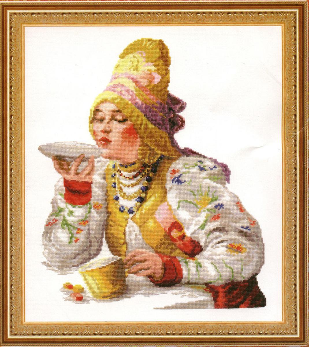 схема набора вышивки крестом боярышня за чаем