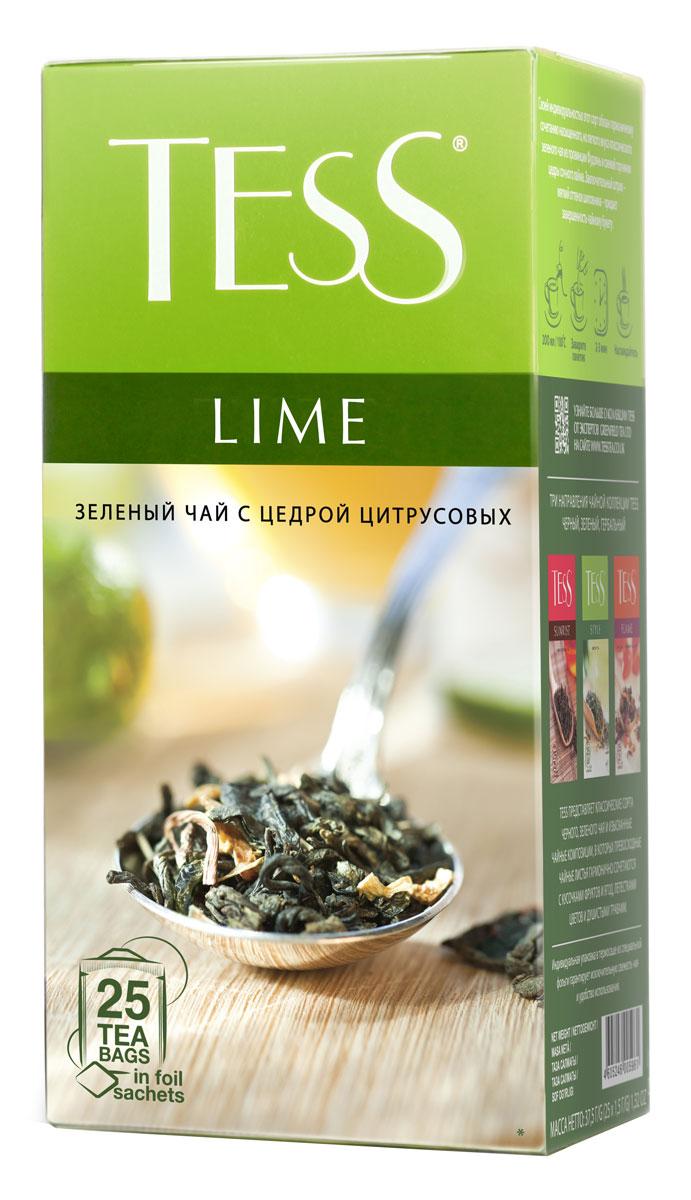 Tess Lime зеленый чай в пакетиках, 25 шт0596-10__новая упаковкаTess Lime - зеленый ароматизированный чай в пакетиках. Своей индивидуальностью этот сорт обязан гармоничному сочетанию насыщенного, но легкого вкуса классического зеленого чая из провинции Фудзяньи свежей горчинки цедры сочного лайма Заключительный штрих – мягкий оттенок шиповника – придает завершенность чайному букету.