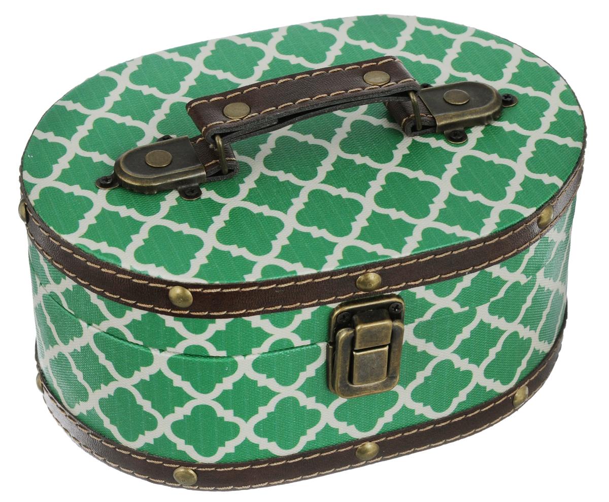 Шкатулка декоративная Sanmu Зеленый узор, 19 х 13,5 х 9 см771063201Декоративная шкатулка Sanmu Зеленый узор прекрасно подойдет для хранения различных аксессуаров и бытовых мелочей, предметов рукоделия и бижутерии. Изделие выполнено из МДФ и обтянуто текстилем с красочным принтом, декорировано вставками из кожзама с металлическими заклепками. Шкатулка снабжена ручкой, закрывается на замок-защелку. Такая шкатулка прекрасно дополнит интерьер вашей комнаты, она вместит все необходимые предметы и будет радовать вас красивым дизайном и изысканным стилем. Прекрасный подарок любительницам красивых вещиц.