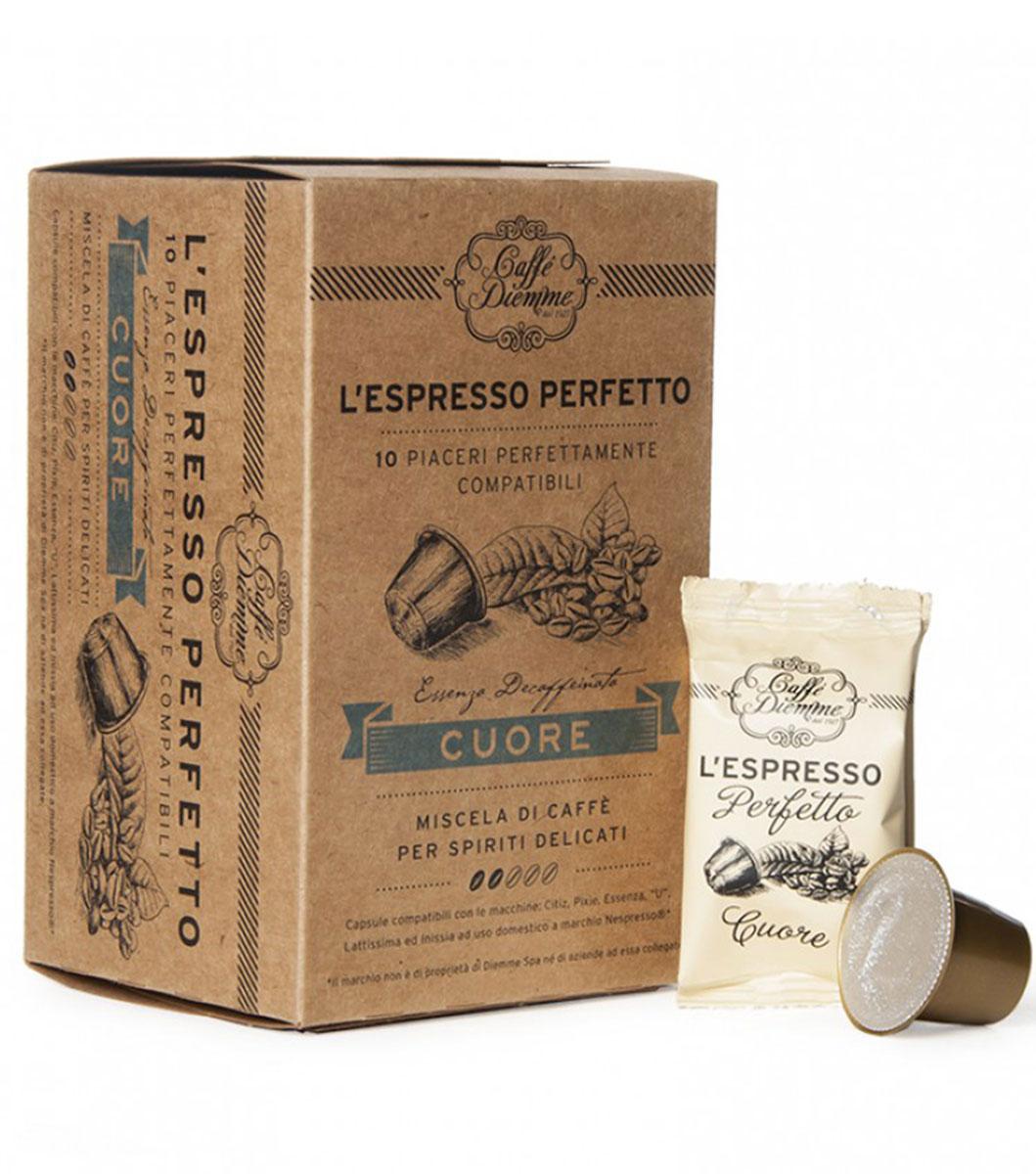 Diemme Caffe Cuore кофе в капсулах, 10 шт8003866001121Кофе в капсулах Diemme Caffe Cuore - кофе без кофеина от Diemme Caffe создан специально для тех, кто хочет насладиться восхитительным эспрессо, но при этом предпочитает декофеинированный кофе.