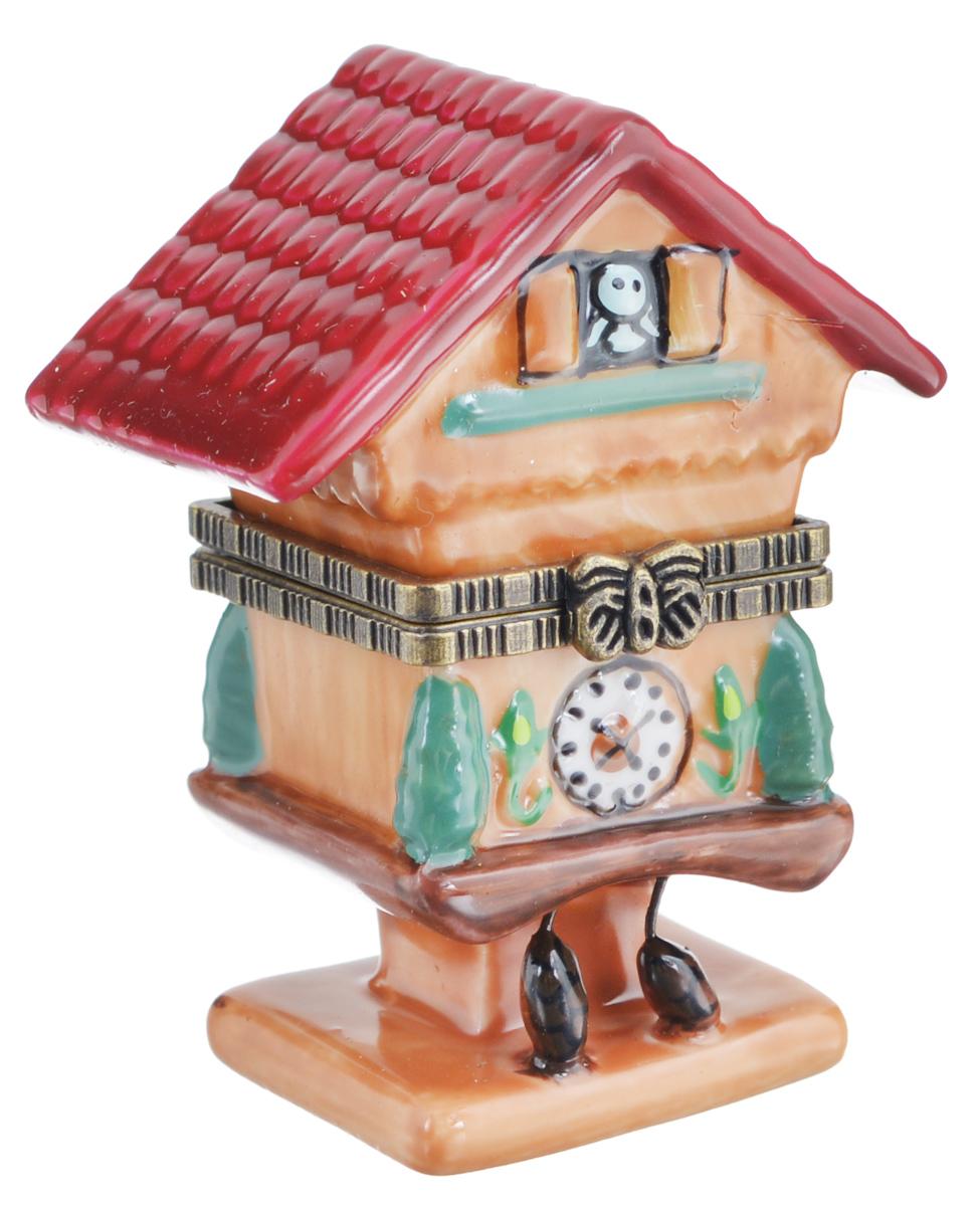 Шкатулка сувенирная Elan Gallery Часы-кукушка, 4 х 3 х 6 см350017Сувенирная шкатулка Elan Gallery Часы-кукушка не оставит равнодушной ни одну любительницу изысканных вещей. Изделие оформлено в виде домика с часами. Такая оригинальная шкатулка может использоваться для хранения бижутерии, в качестве украшения интерьера, а также послужит хорошим подарком для родных и близких.