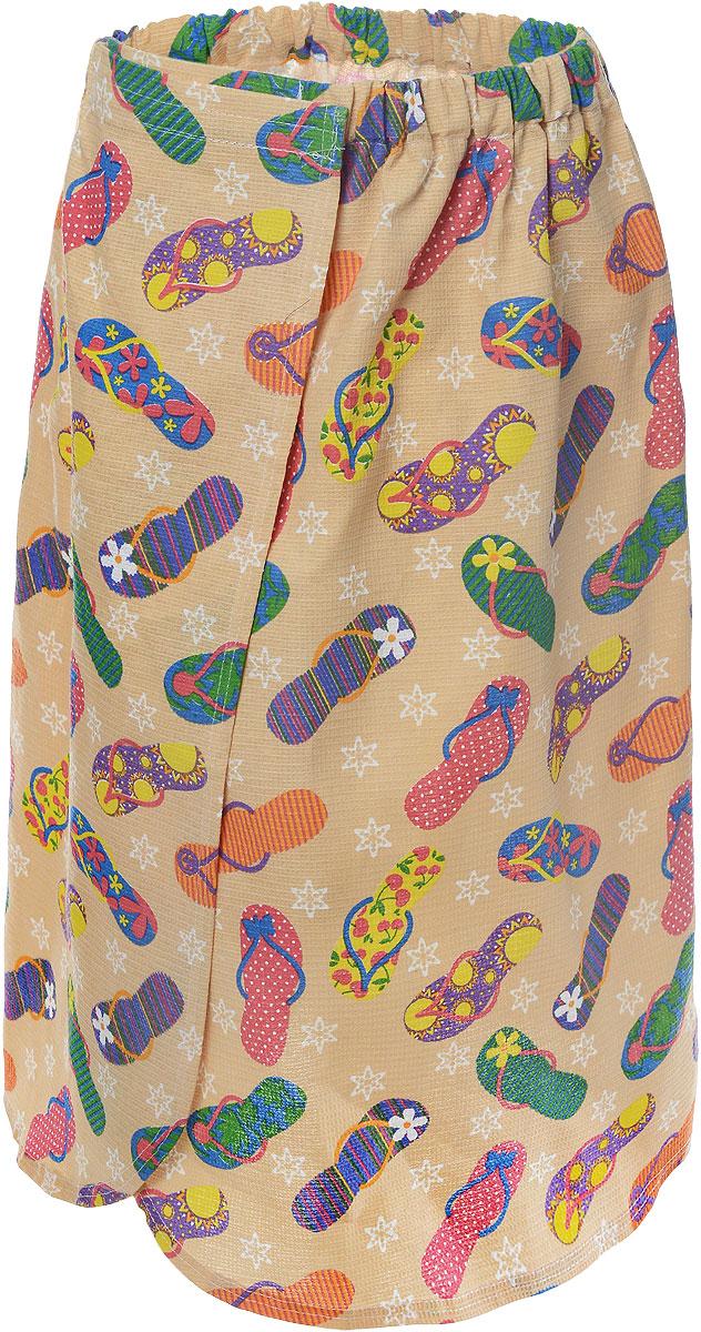 Накидка для бани и сауны Главбаня Тапочки, женская, цвет: бежевыйБ85_бежевый рисунок тапочкиЖенская накидка для бани и сауны Главбаня выполнена из вафельной ткани (100% натуральный хлопок), украшенной ярким принтом в виде летних сланцев. Изделия из такой ткани хорошо впитывают влагу, являются практичными и износостойкими. Накидка снабжена резинкой и застежкой-липучкой, поэтому универсальна. Она прекрасно послужит в качестве полотенца или парео и защитит вас от воздействия горячих предметов в парилке. Накидка - полезный аксессуар для всех любителей попариться в бане.
