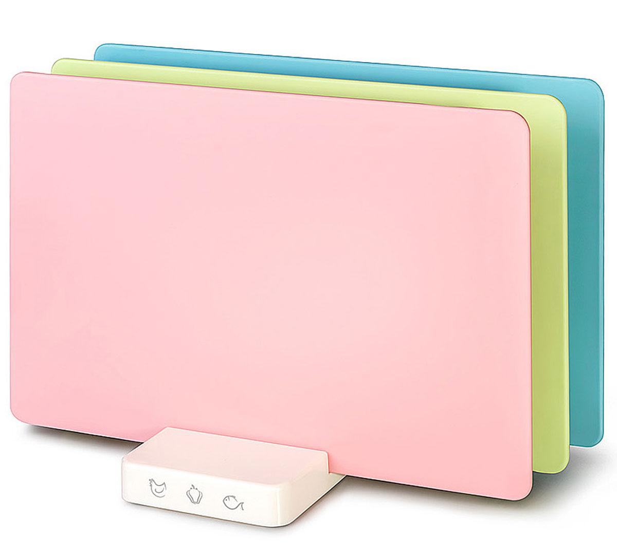 """Apollo Home & Deco Набор разделочных досок Apollo """"Axioma"""", цвет: розовый, салатовый, голубой, 4 предмета"""