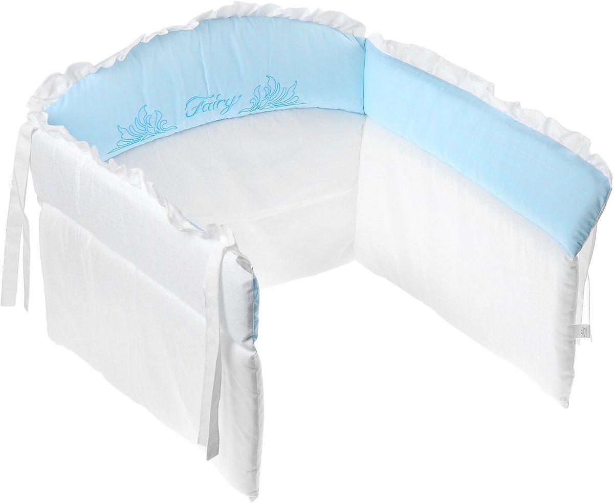 Fairy Бампер в кроватку Сладкий сон5688Бампер в кроватку Fairy Сладкий сон крепится к кроватке с помощью специальных завязок, благодаря чему его можно поместить в любую детскую кроватку. Бампер выполнен из натурального хлопка безупречной выделки. Деликатные швы рассчитаны на прикосновение к нежной коже ребенка. Бампер отличается спокойной приятной расцветкой. Наполнителем служит холлофайбер - эластичный синтетический материал, экологически безопасный и гипоаллергенный, обладающий высокими теплозащитными свойствами. Бампер защитит ребенка от возможных ударов о деревянные или металлические части кроватки.