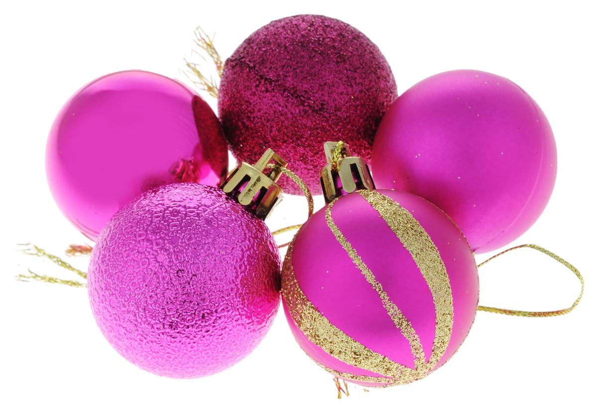 Набор новогодних подвесных украшений EuroHouse Шар, цвет: фуксия, диаметр 4 см, 5 штЕХ 10988_фуксияНабор подвесных украшений EuroHouse прекрасно подойдет для праздничного декора новогодней ели. Набор состоит из 5 пластиковых украшений в виде шаров, оформленных блестками. Для удобного размещения на елке для каждого украшения предусмотрена текстильная петелька. Елочная игрушка - символ Нового года. Она несет в себе волшебство и красоту праздника. Создайте в своем доме атмосферу веселья и радости, украшая новогоднюю елку нарядными игрушками, которые будут из года в год накапливать теплоту воспоминаний. Откройте для себя удивительный мир сказок и грез. Почувствуйте волшебные минуты ожидания праздника, создайте новогоднее настроение вашим дорогим и близким.