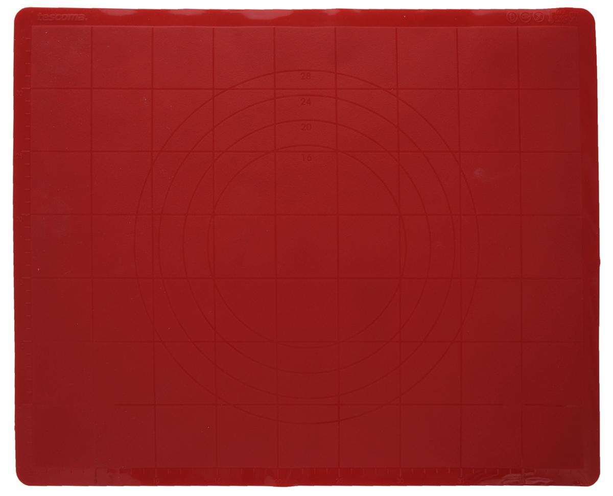 Лист для раскатки теста Tescoma Delicia, цвет: красный, 48 х 38 см629382_красныйСиликоновый лист Tescoma подходит для раскатки теста и обработки других продуктов. Идеально прилегает к поверхности стола, тесто не пристает. Лист имеет шкалу для удобного измерения и резки. Легко моется, не впитывает запахи продуктов. Можно использовать как подставку под горячую посуду.
