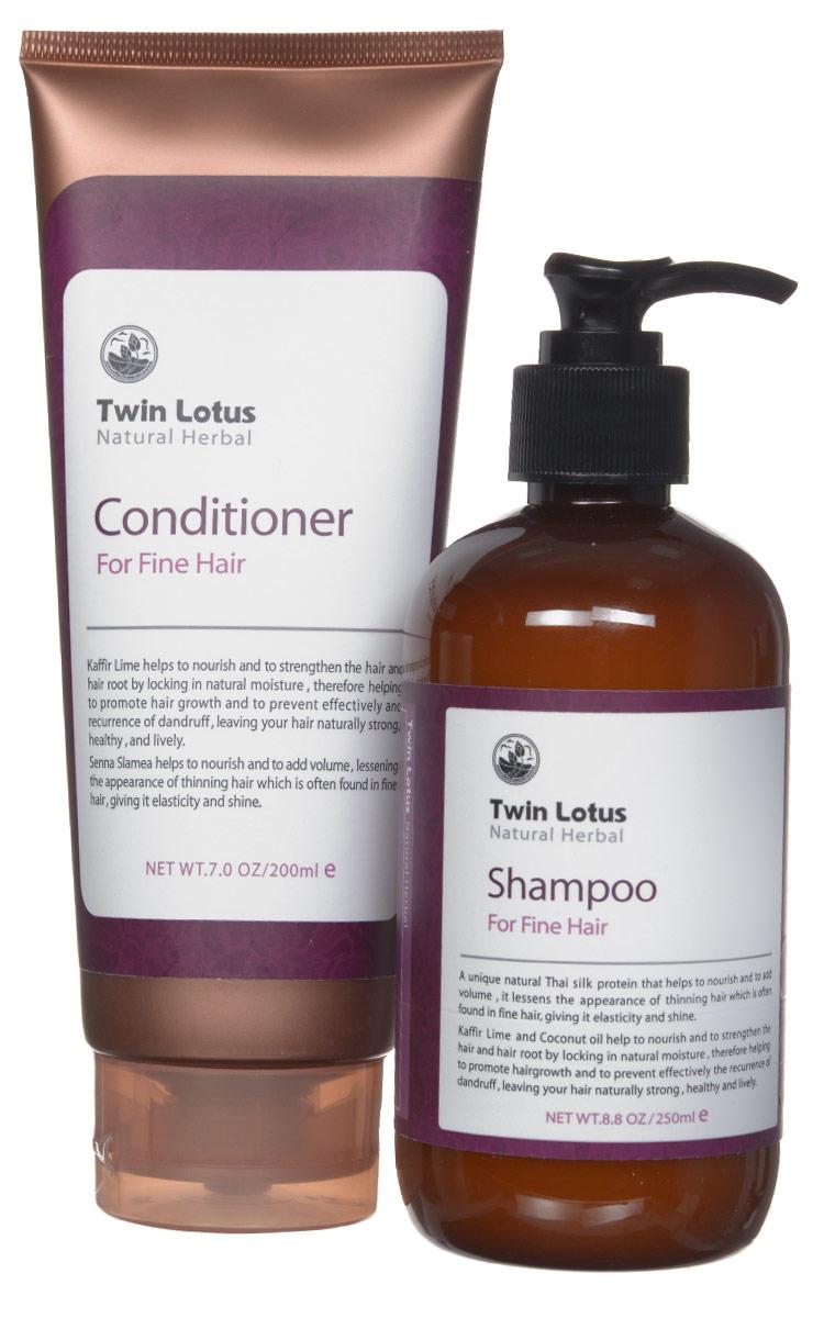 Twin Lotus Набор Шампунь 250 мл и кондиционер 200 мл Natural (Для нормальных волос)0285Шампунь: Уникальный натуральный Тайский протеин шелка увлажняет волосы и добавляет объем. Экстракты коффира-лайма и кокосового масла питают, сохраняют естественную влажность, способствуют увеличению их роста, эффективно предотвращают появление перхоти, придавая волосам силу, здоровье и блеск. Кондиционер: Экстракты каффира-лайма и кокосового масла питают и укрепляют волосы, сохраняя их естественную влажность. Кассия сеамская питает корни волос и придает им объем.