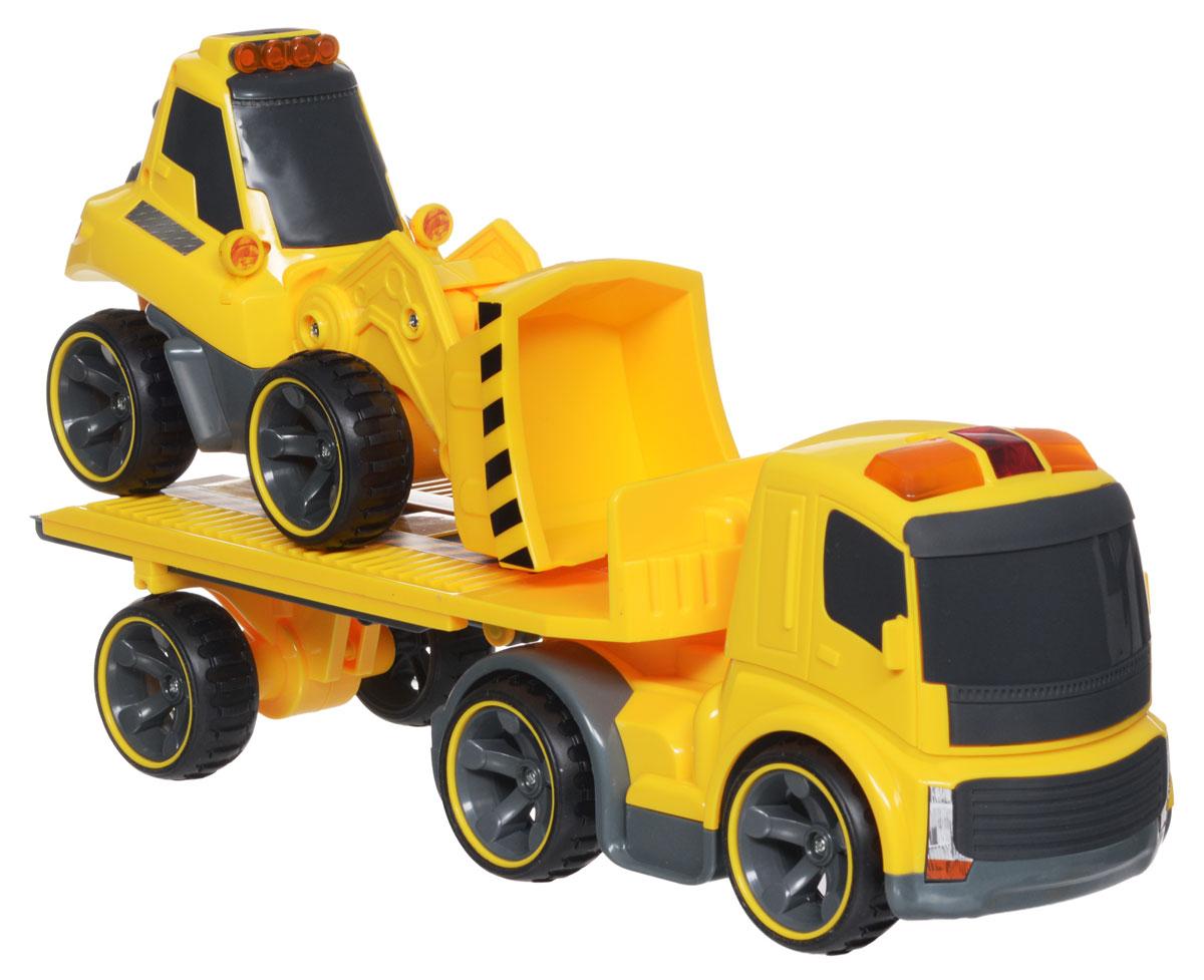 Silverlit Трейлер и Бульдозер на радиоуправлении81118CТрейлер и Бульдозер Silverlit на радиоуправлении обязательно привлекут внимание и взрослого, и ребенка и понравятся любому, кто увлекается автомобилями. С помощью сменных агрегатов, бульдозер может превратиться во фронтальный погрузчик, или в снегоуборочную машину. У трейлера поворачивается и раскладывается прицеп. Полнофункциональное управление - вперед-назад, влево-вправо, пропорциональное точное управление скоростью, реалистичные звуковые эффекты, световые эффекты - горят сигнальные фонари на кабине бульдозера. Оригинальный пульт управления - в виде рации. И еще одна особенность - с одного пульта управления можно управлять не только трейлером и бульдозером, но и различными строительными машинами серии Power in Fun. На пульте управления расположены кнопки управления звуковыми эффектами - мотор и сигнал, световыми эффектами - сигнальные огни на кабине, рычажки управления движением транспортного средства, переключатель выбора управляемого транспортного...