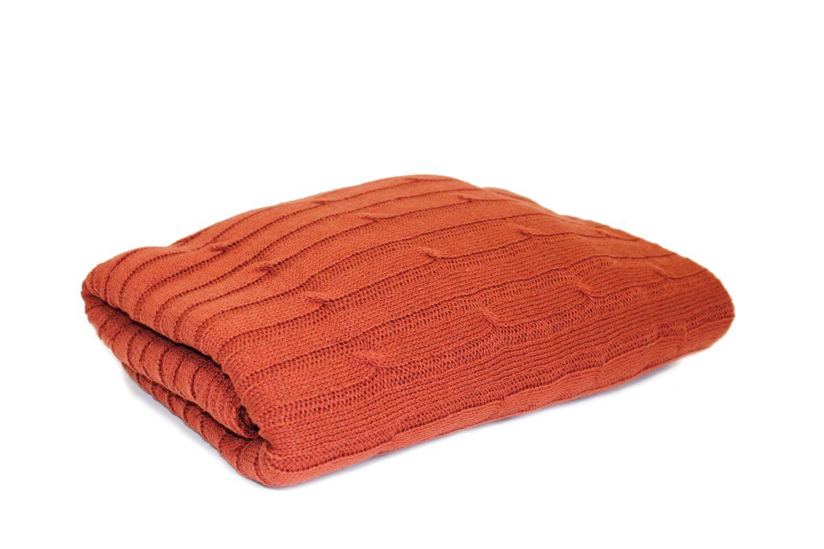 Плед вязаный Proffi Home Косы, цвет терракотовый, 130 х 180 смPH3669