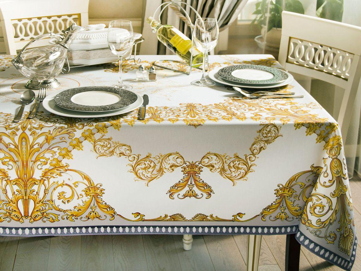 Скатерть кухонная Proffi Home Флоренсия, 220 х 140 см, цвет: белый, бежевыйPH3893Скатерть Форма: прямоугольная Материал: полиэстер, хлопок Длина: 220 см Ширина: 140 см Цвет: белый, бежевый